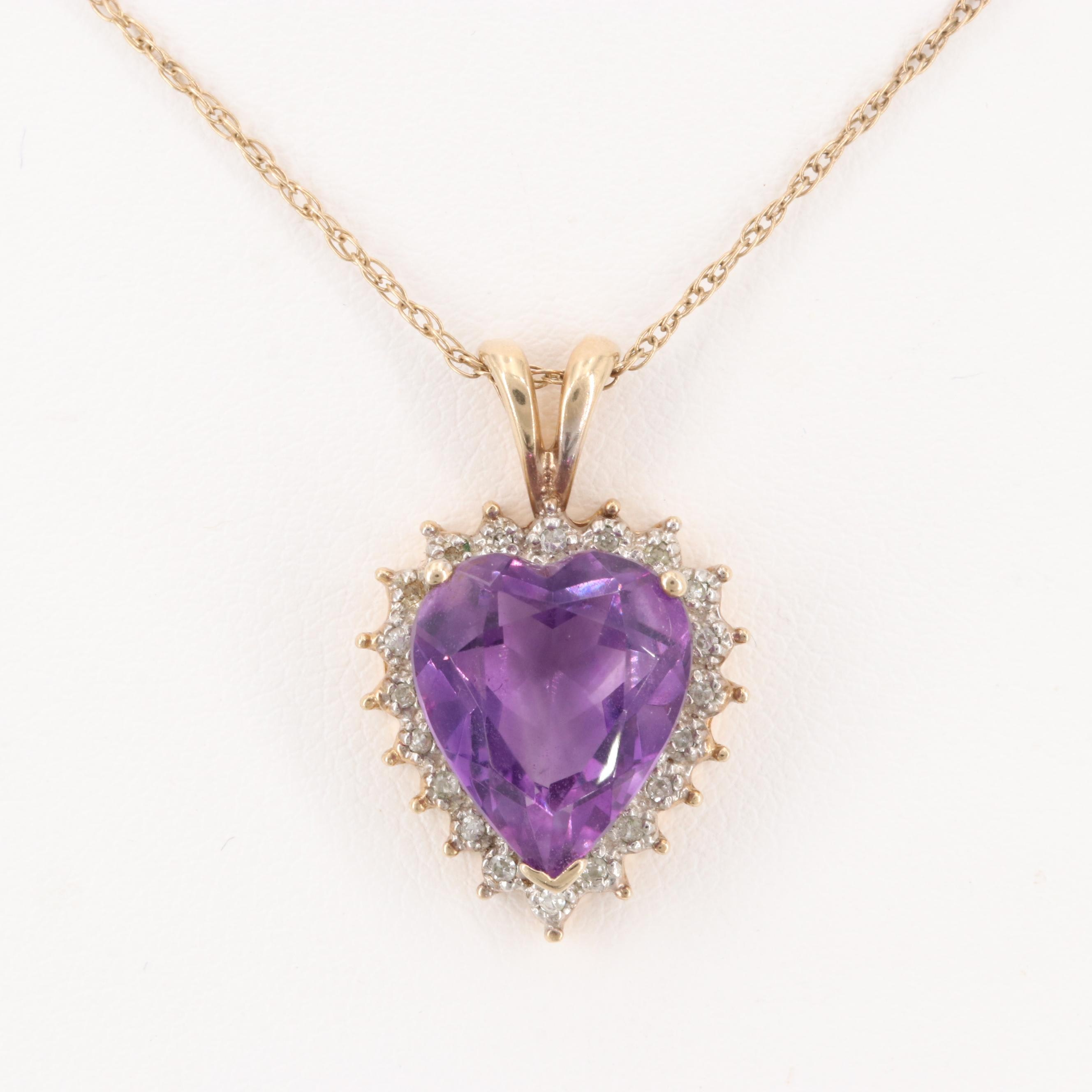 10K Yellow Gold Amethyst and Diamond Heart Pendant Necklace
