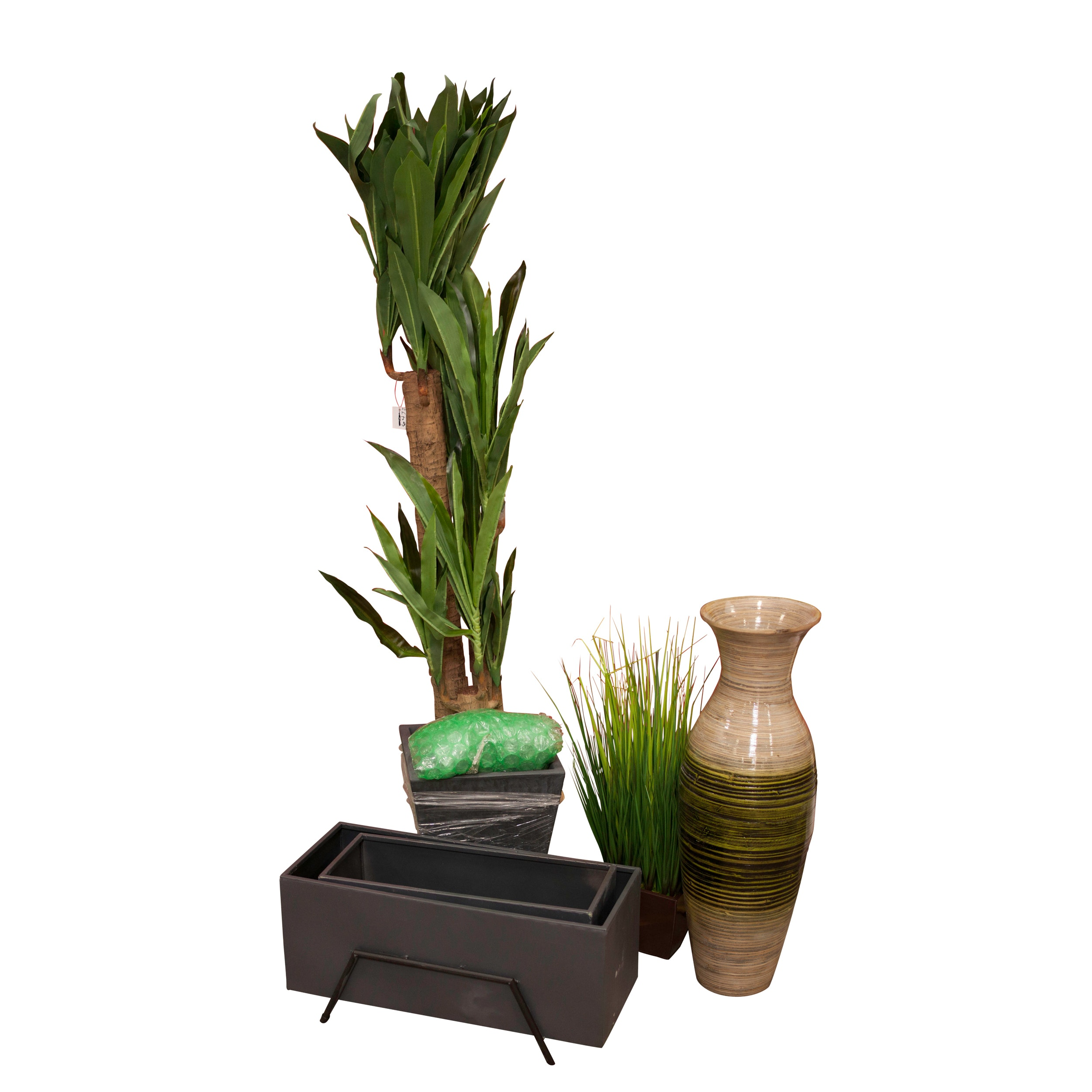 Artificial Plants and Planters Including a Bamboo Vase, Contemporary