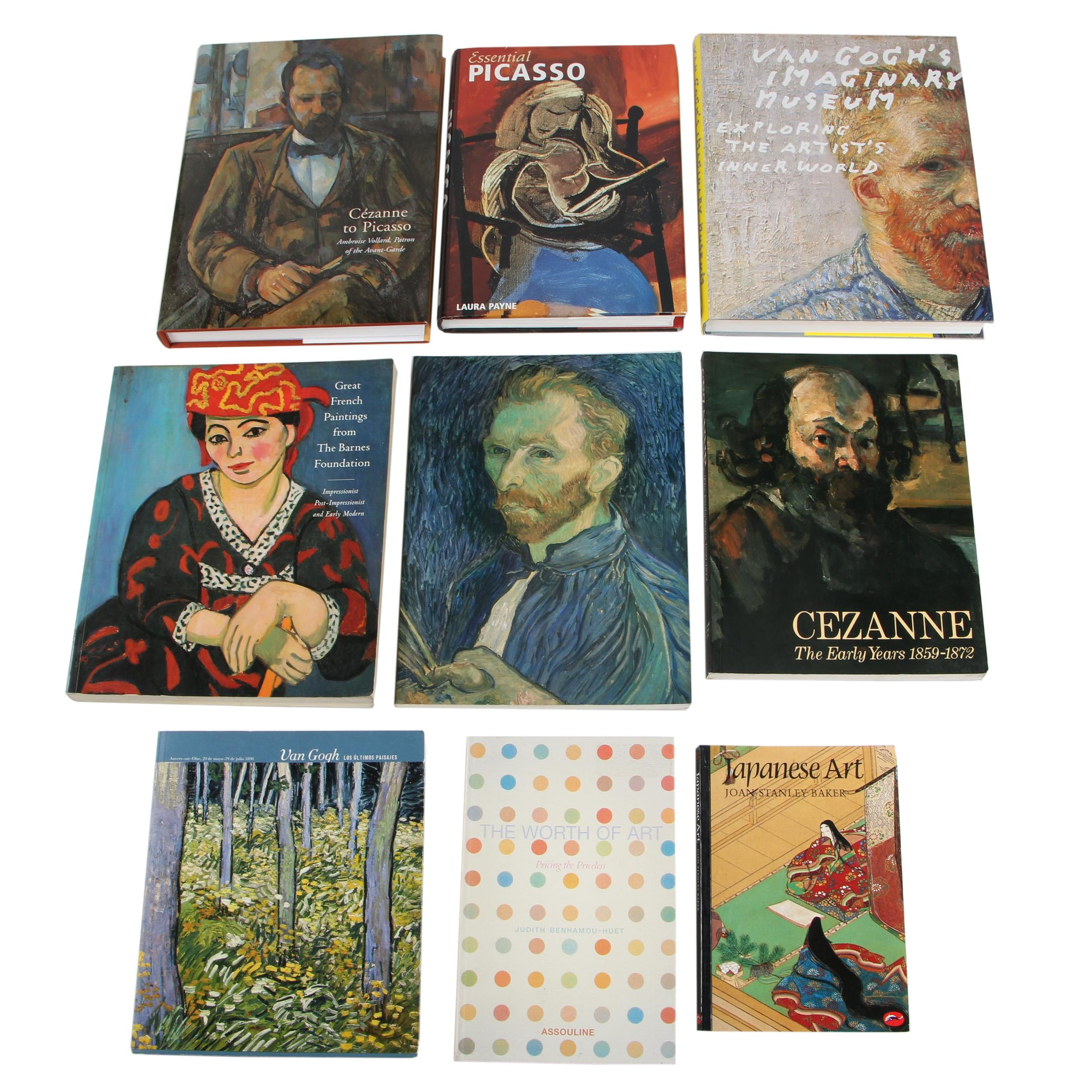 Art Books and Exhibition Catalogs Featuring Cézanne, Picasso, and Van Gogh