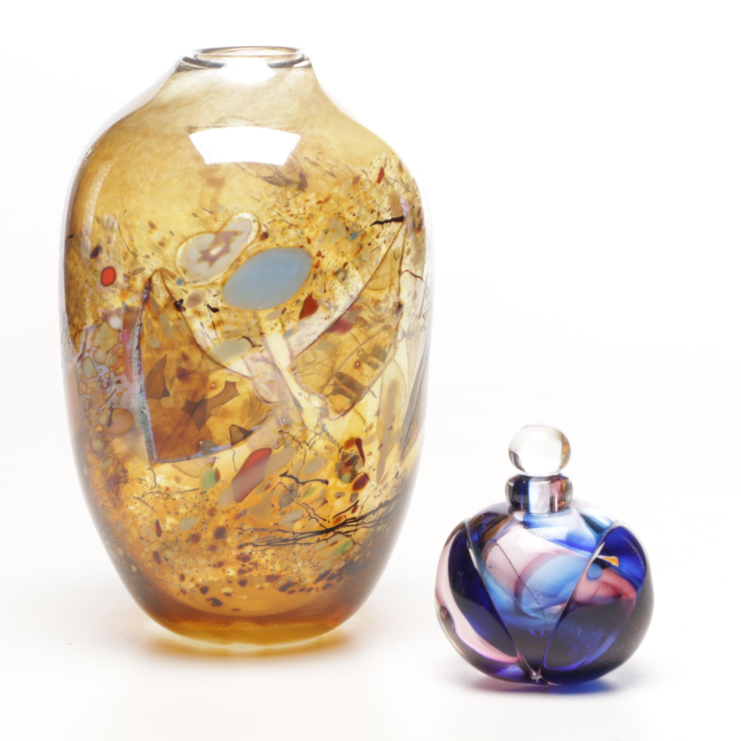 Signed Christopher Belleau Art Glass Vase and Carmen Ray Coyle Perfume Bottle