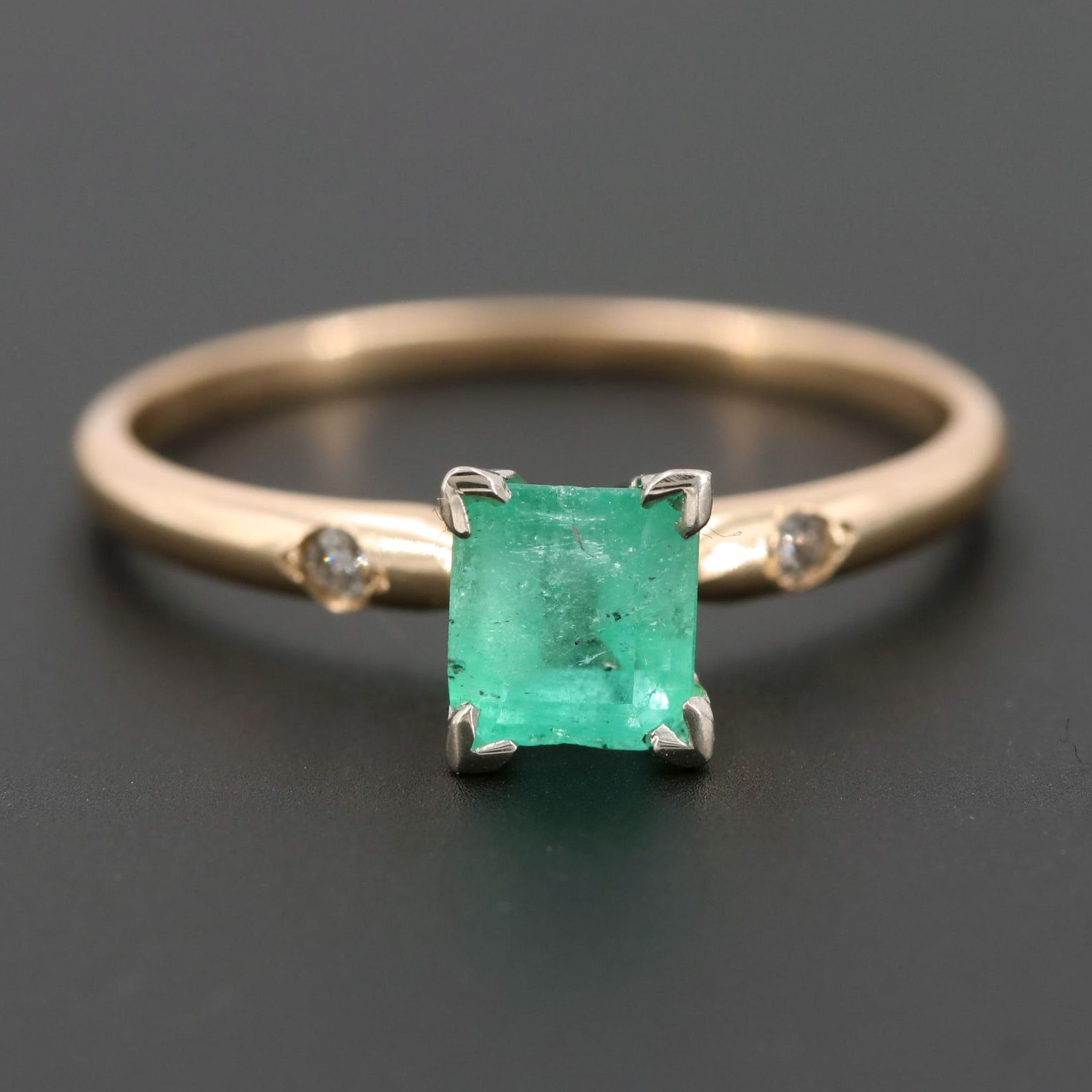 14K Yellow and White Gold Emerald and Diamond Ring