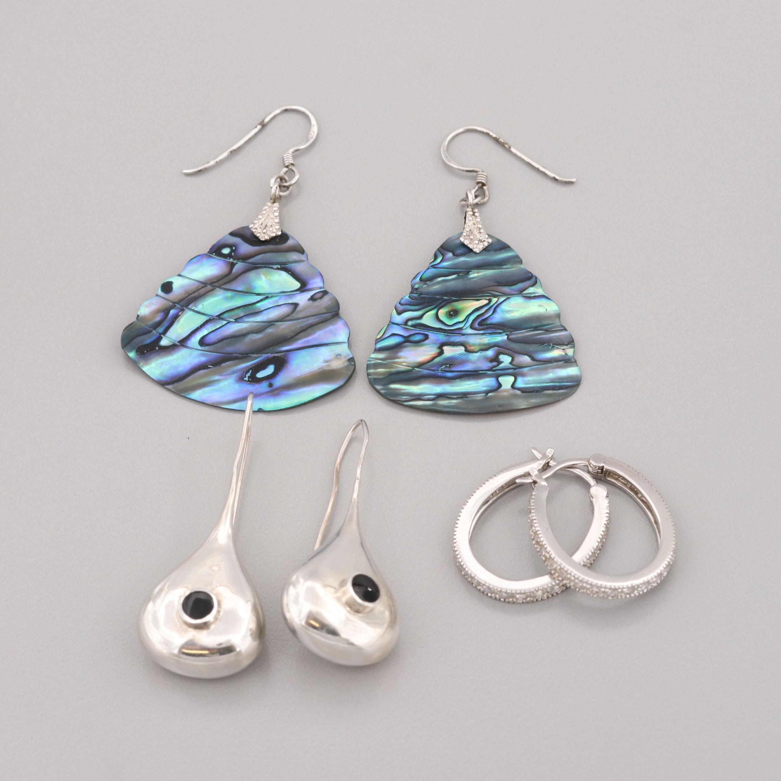 Sterling Silver Hoop, Drop and Dangle Earrings with Abalone and Glass