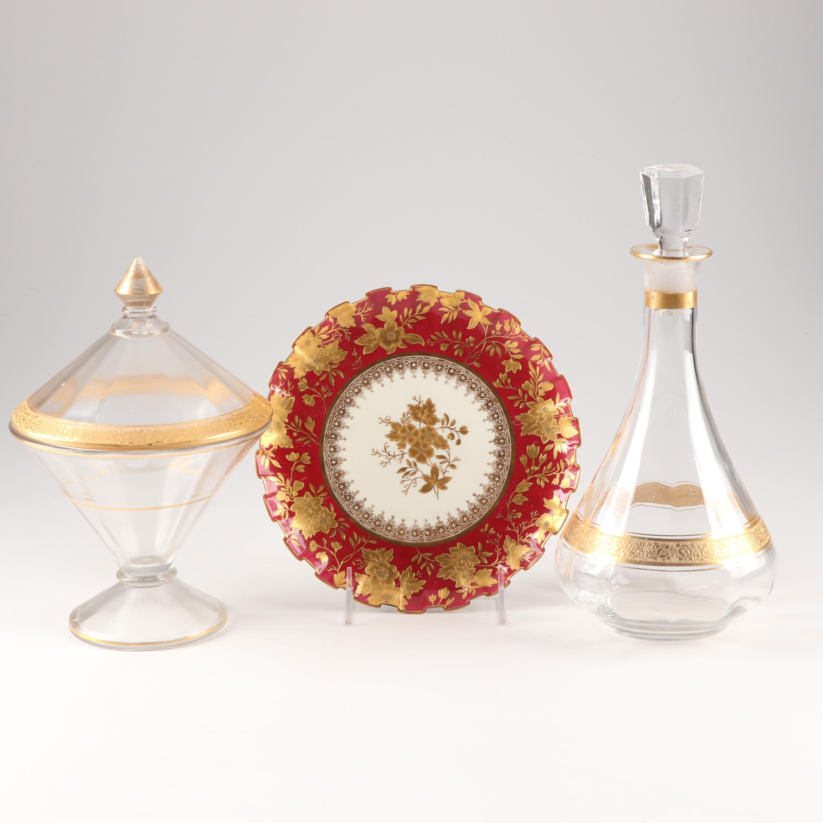 Gilt Glassware and Porcelain Plate