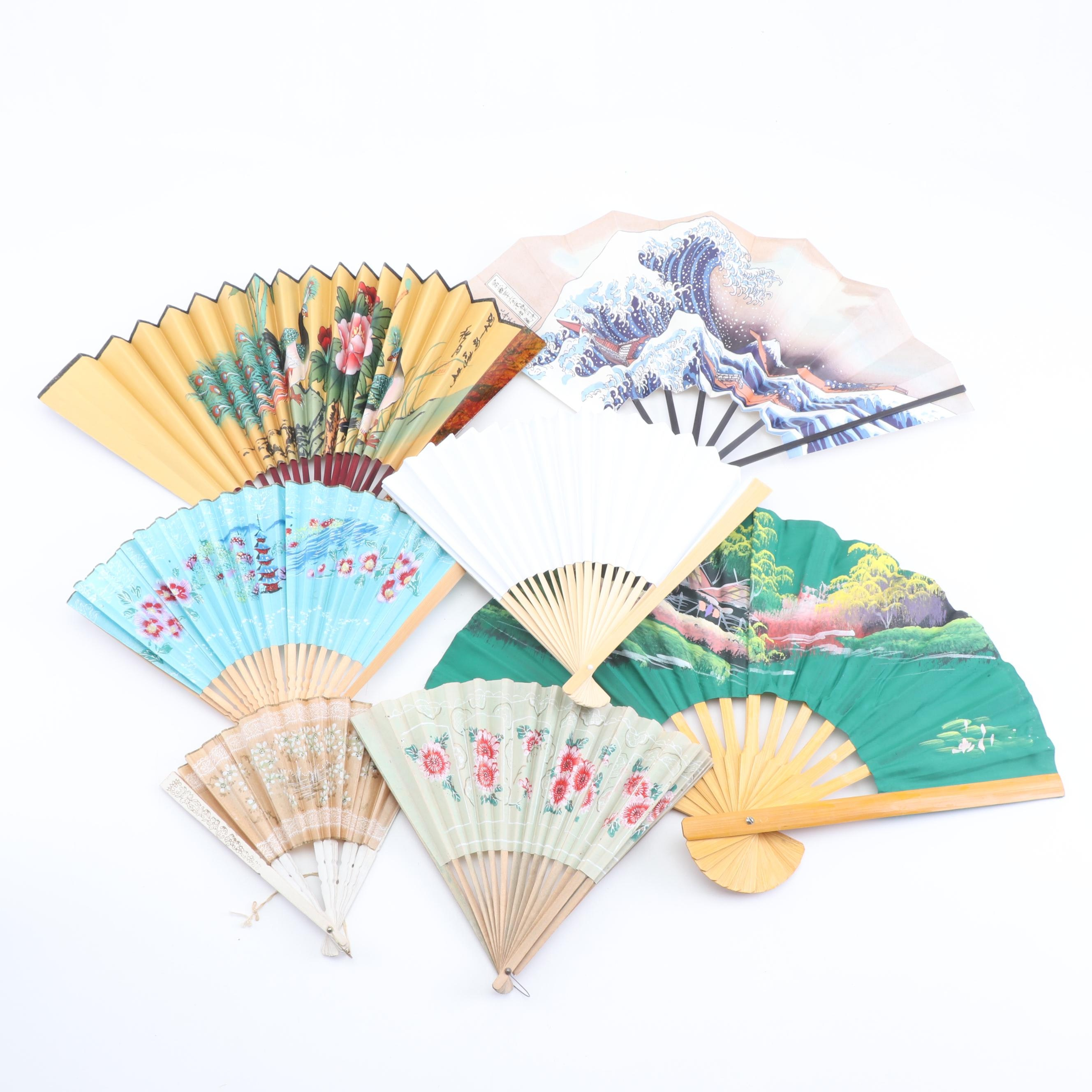 Hand-Painted Asian Style Fans