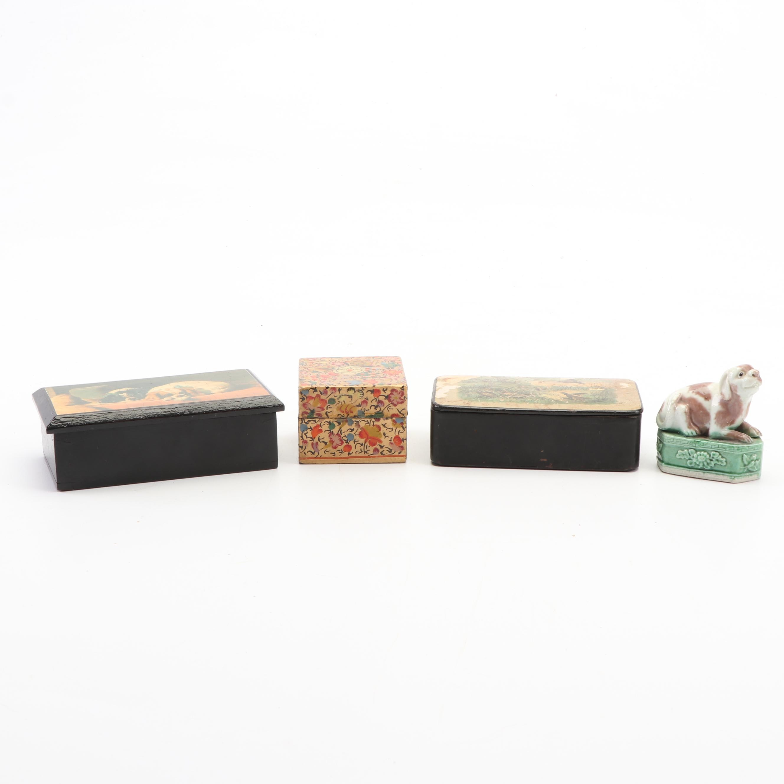 Dog Themed Pill and Trinket Boxes Including Kashmiri