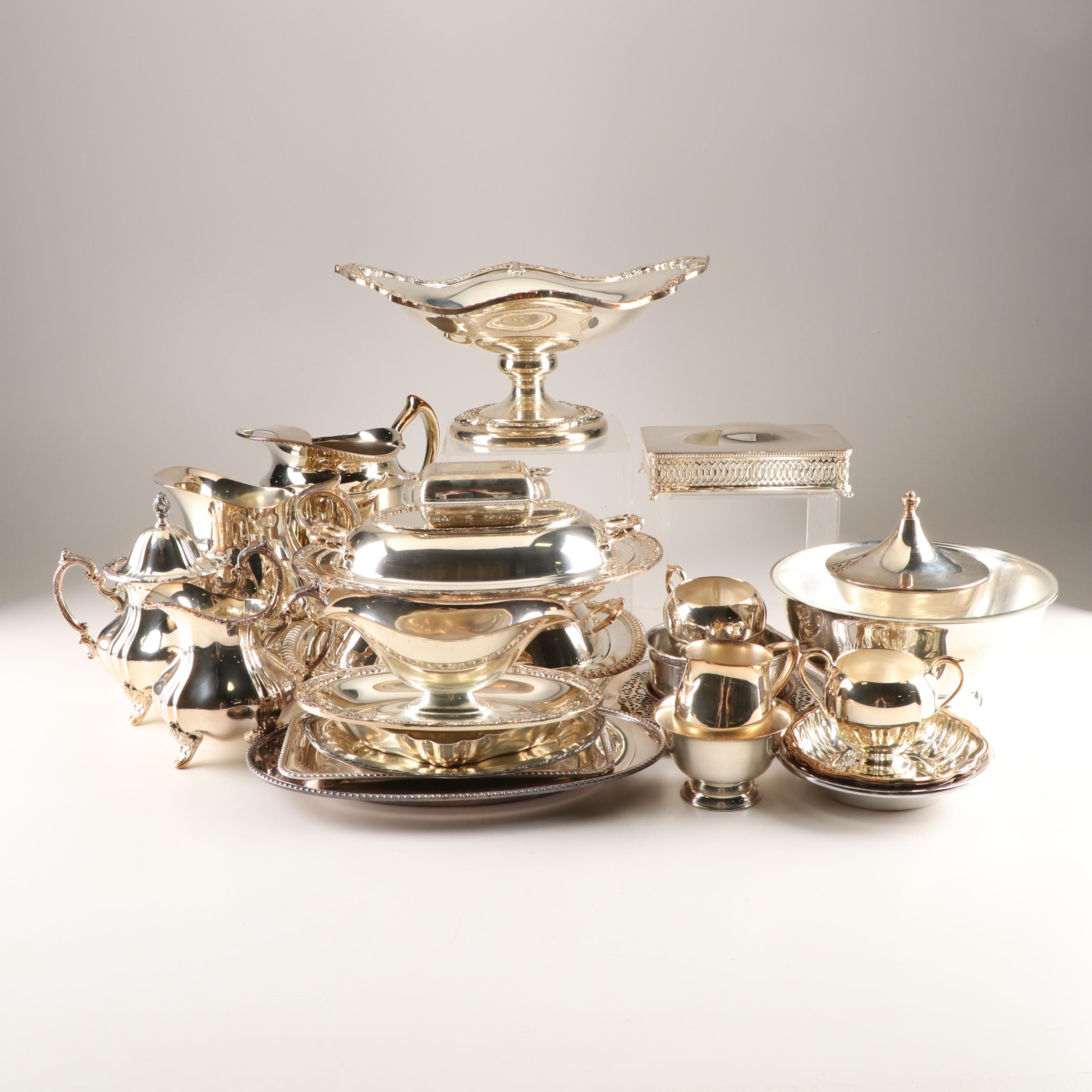 Plated Silver Tableware and Serving Pieces including Sheridan Centerpiece Bowl