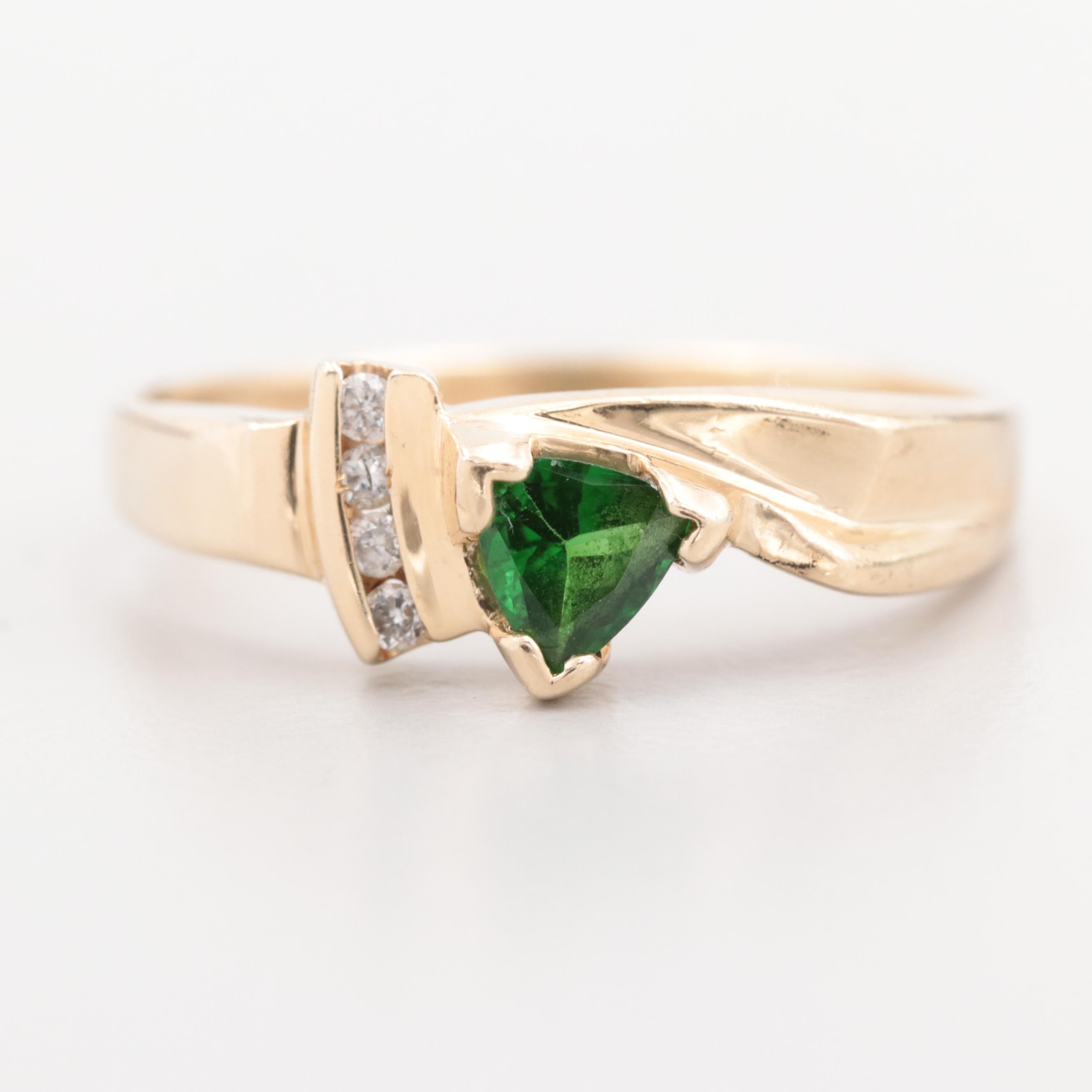 14K Yellow Gold Diopside and Diamond Ring
