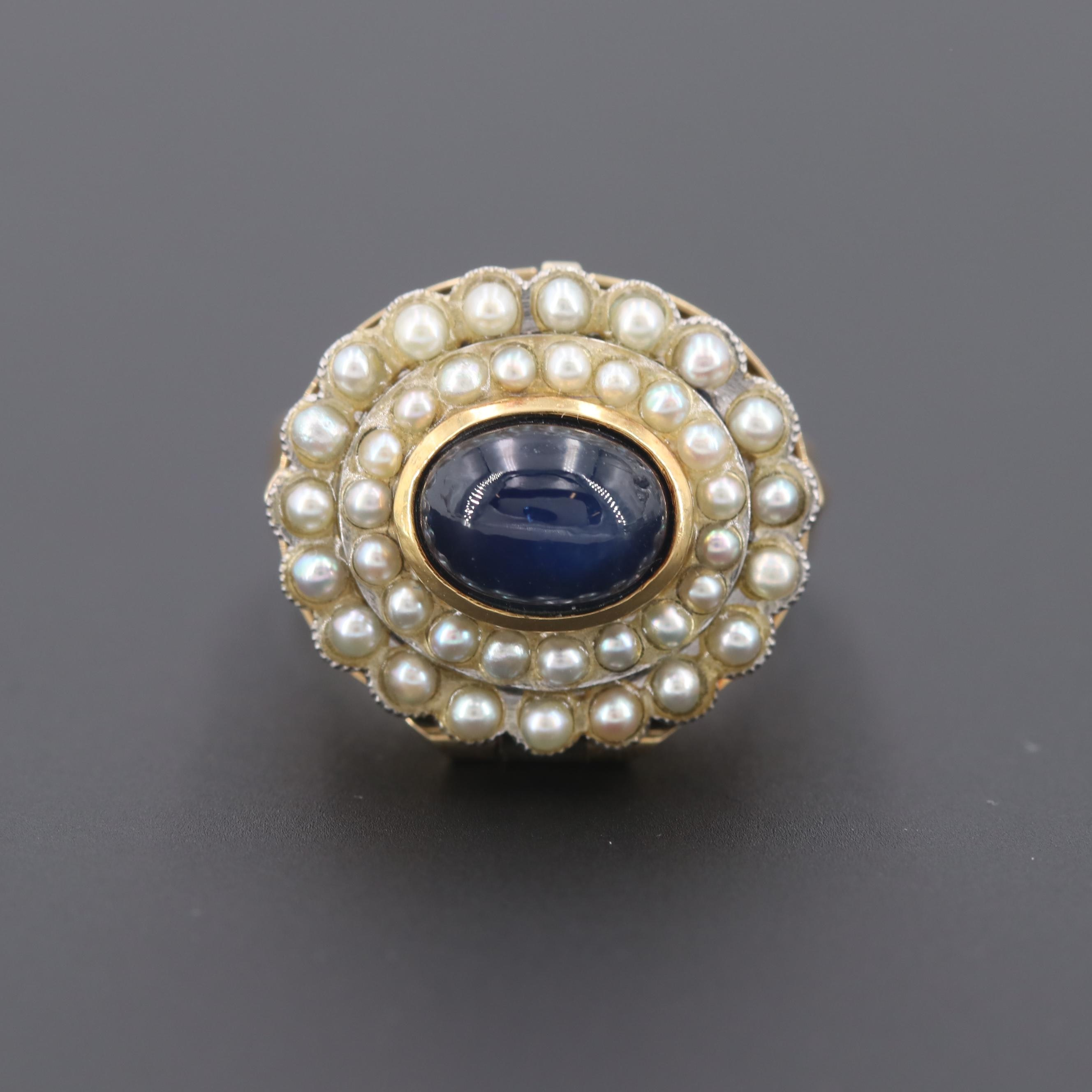 Vintage 18K Yellow Gold Star Sapphire and Cultured Pearl Poison Ring
