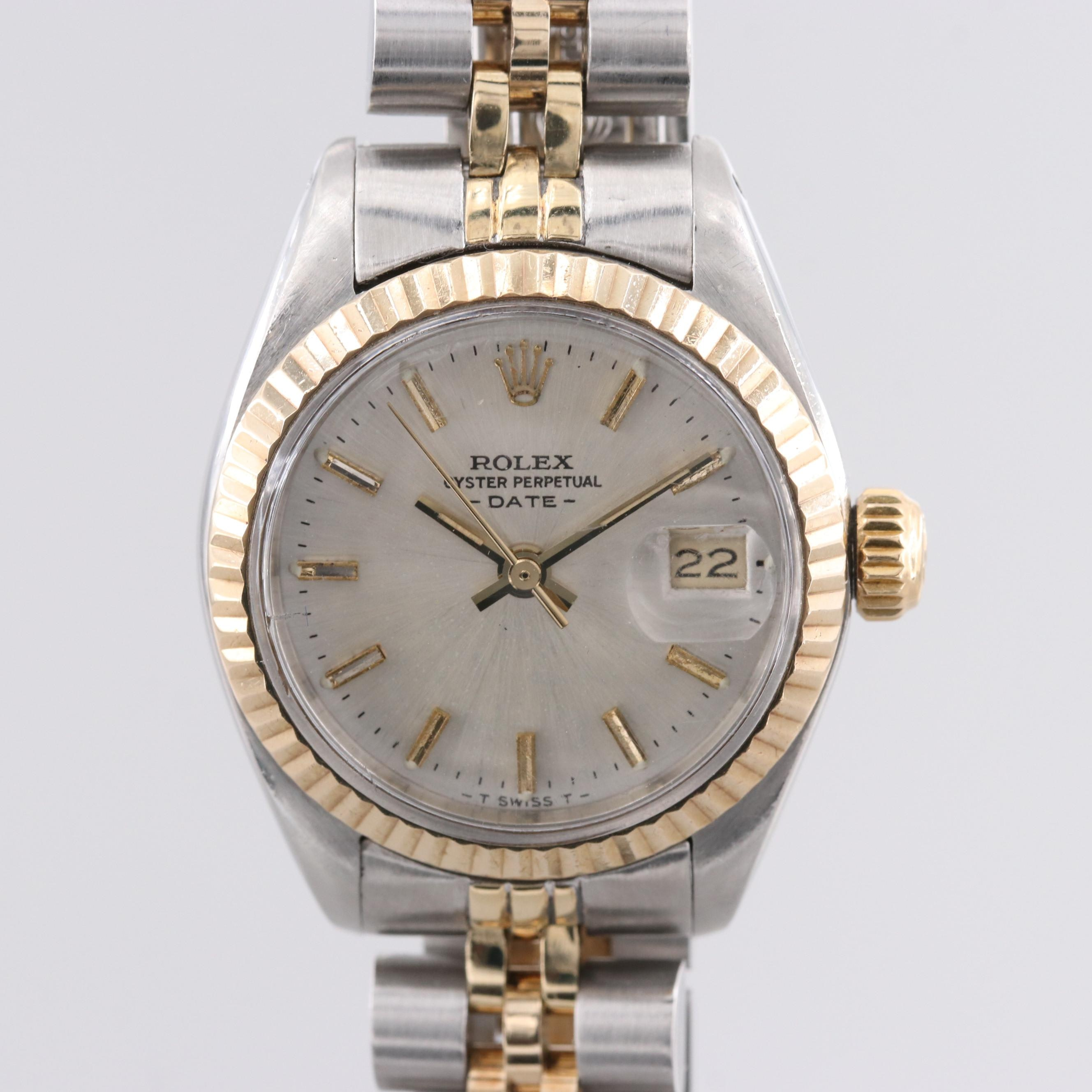 Rolex Oyster Perpetual Date Stainless Steel and 18K Yellow Gold Wristwatch, 1979
