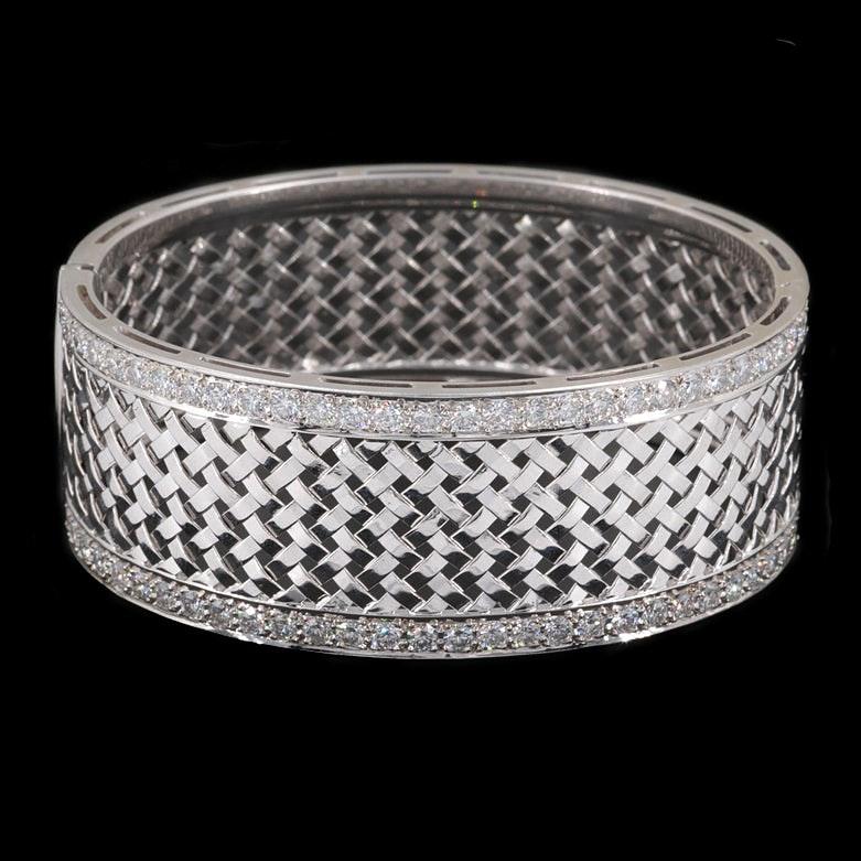 Italian 18K White Gold 3.52 CTW Diamond Lattice Weave Bracelet