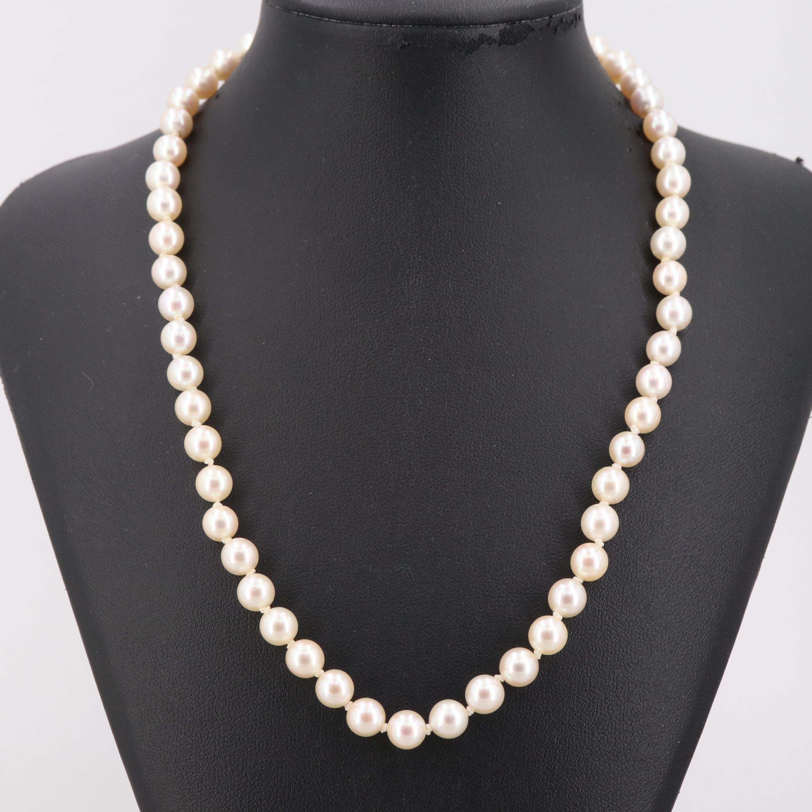 Cultured Pearl Bead Necklace with Sterling Silver