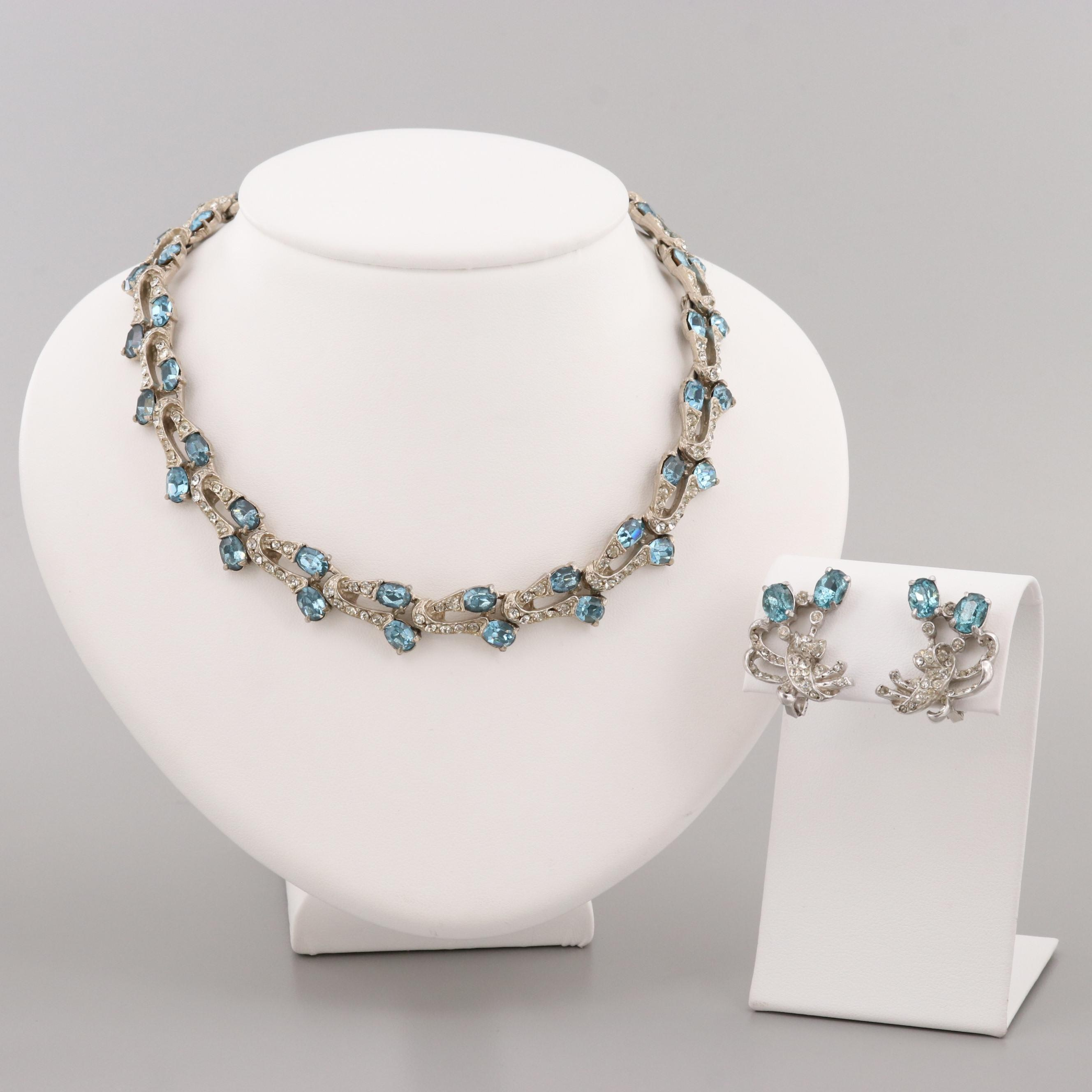 Joseph Wiesner N.Y. Silver Tone Faceted Glass Necklace and Earring Set