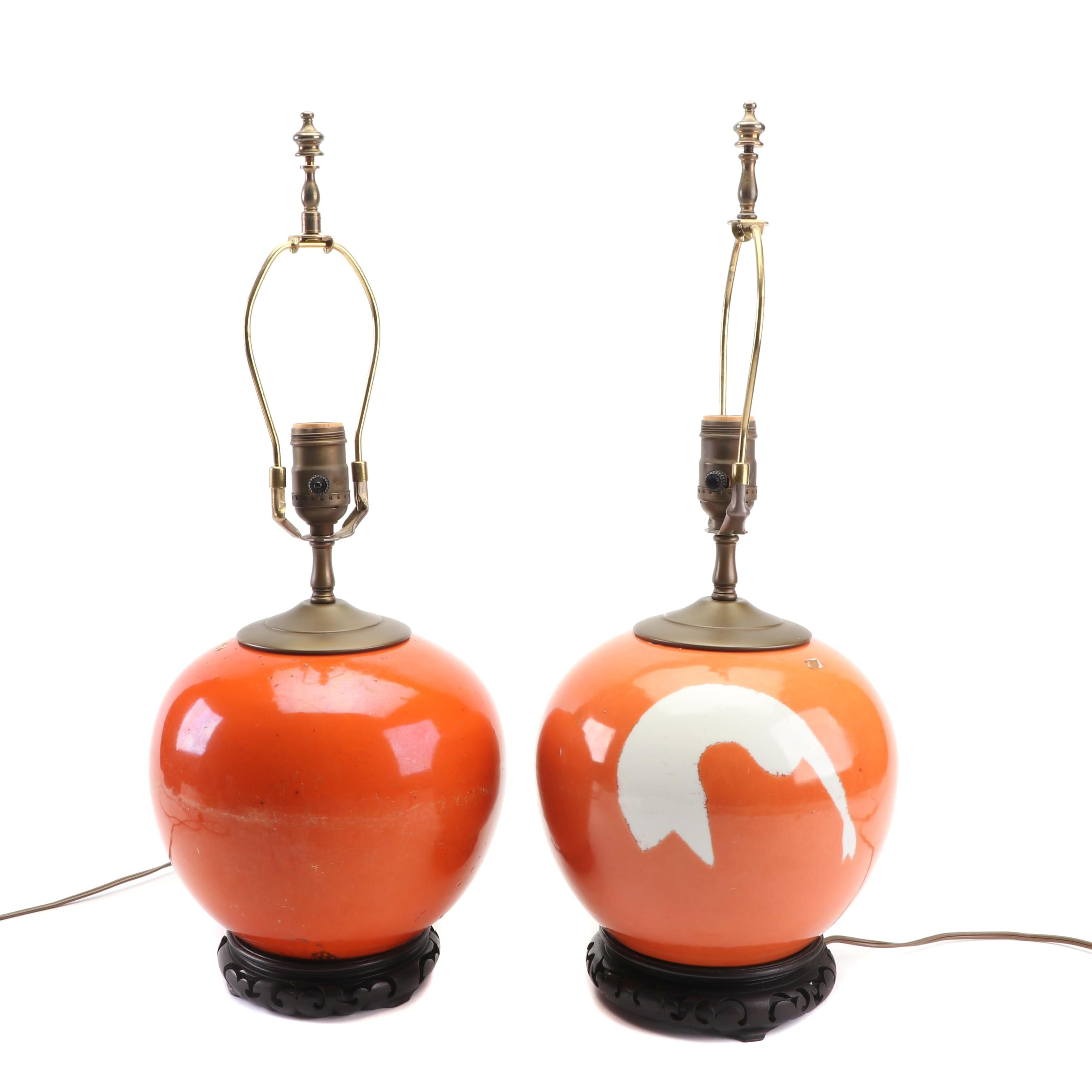 Pair of Asian Orange Ceramic Table Lamps