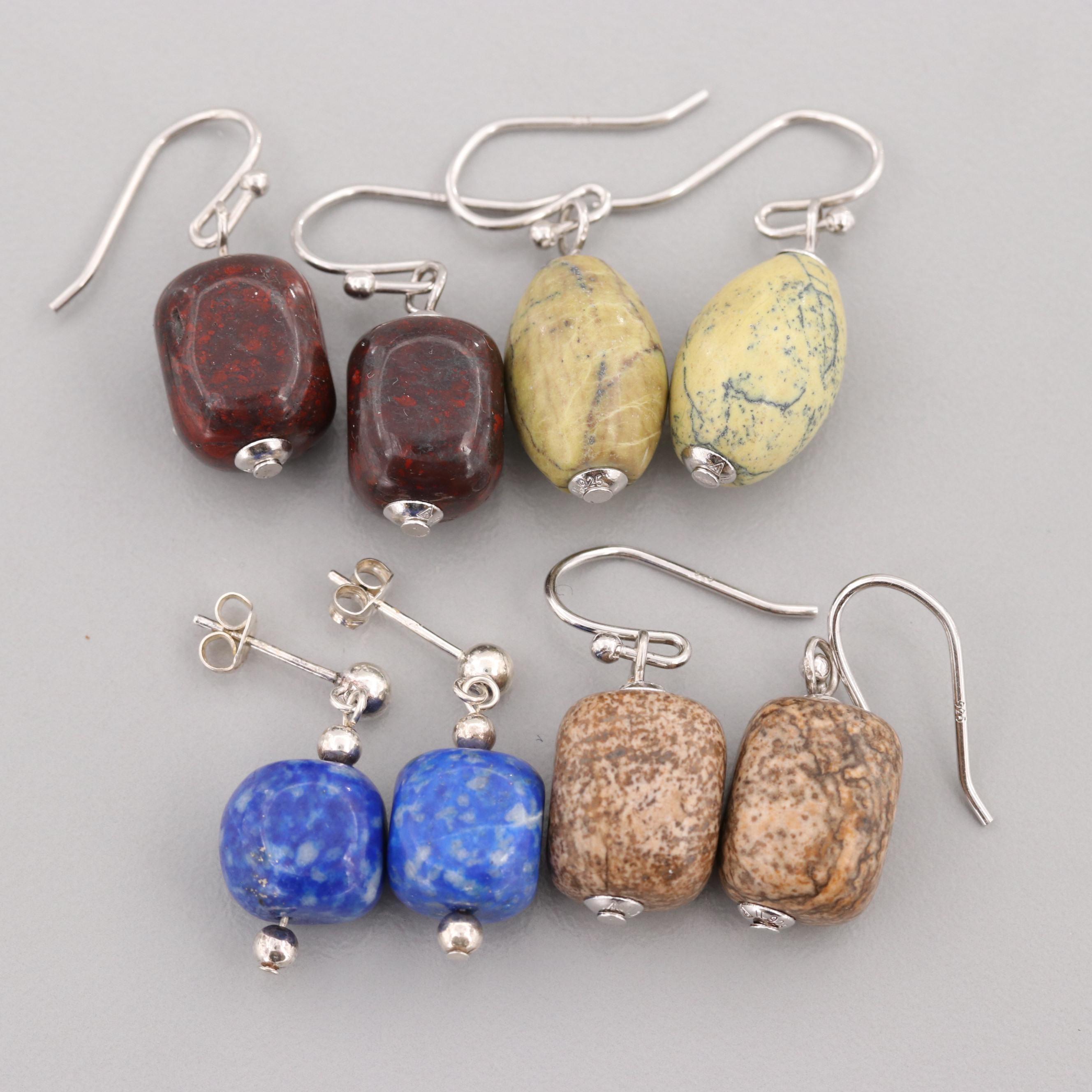 Sterling Silver Lapis Lazuli and Jasper Dangle Earring Assortment