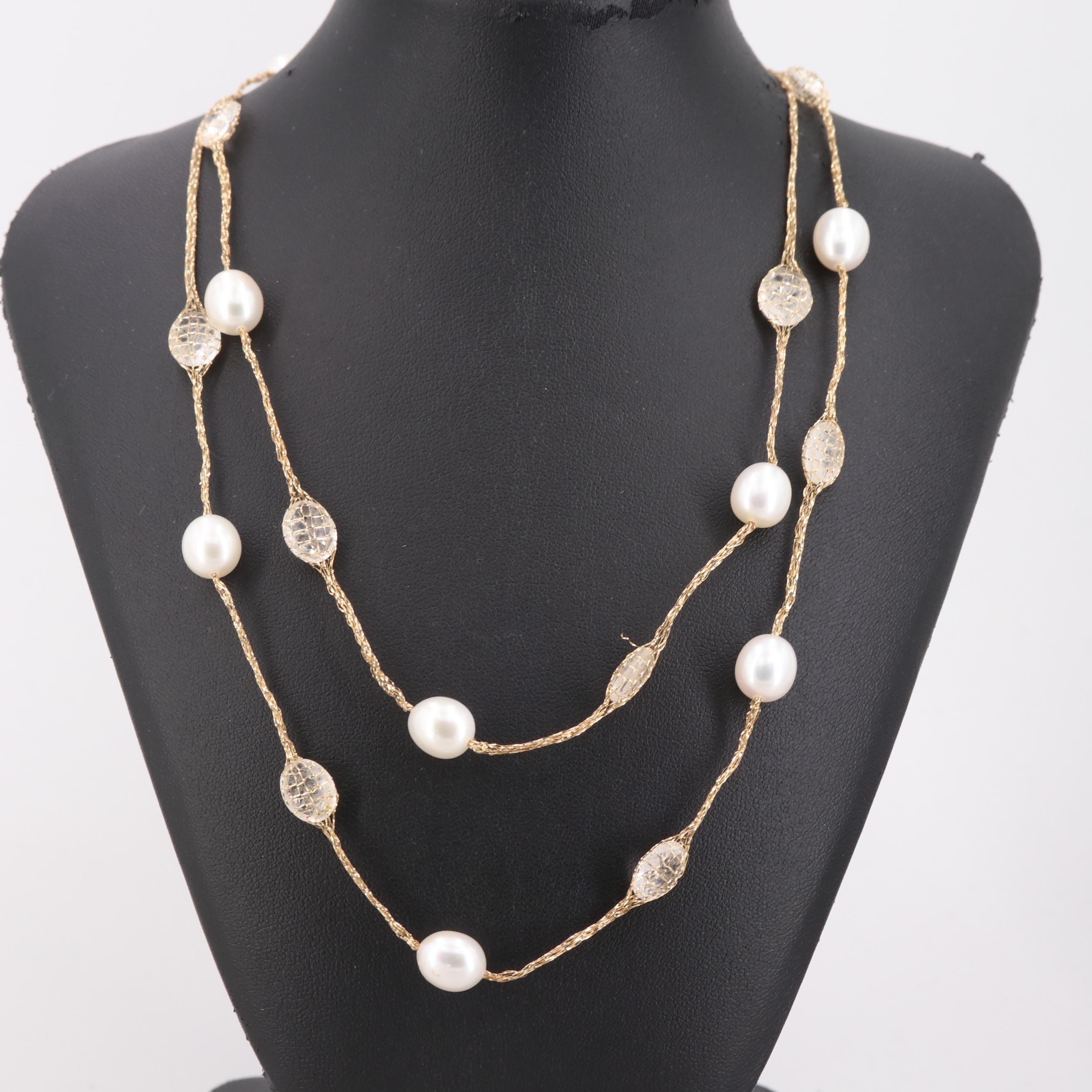 14K Yellow Gold Quartz and Cultured Pearl Mesh Necklace