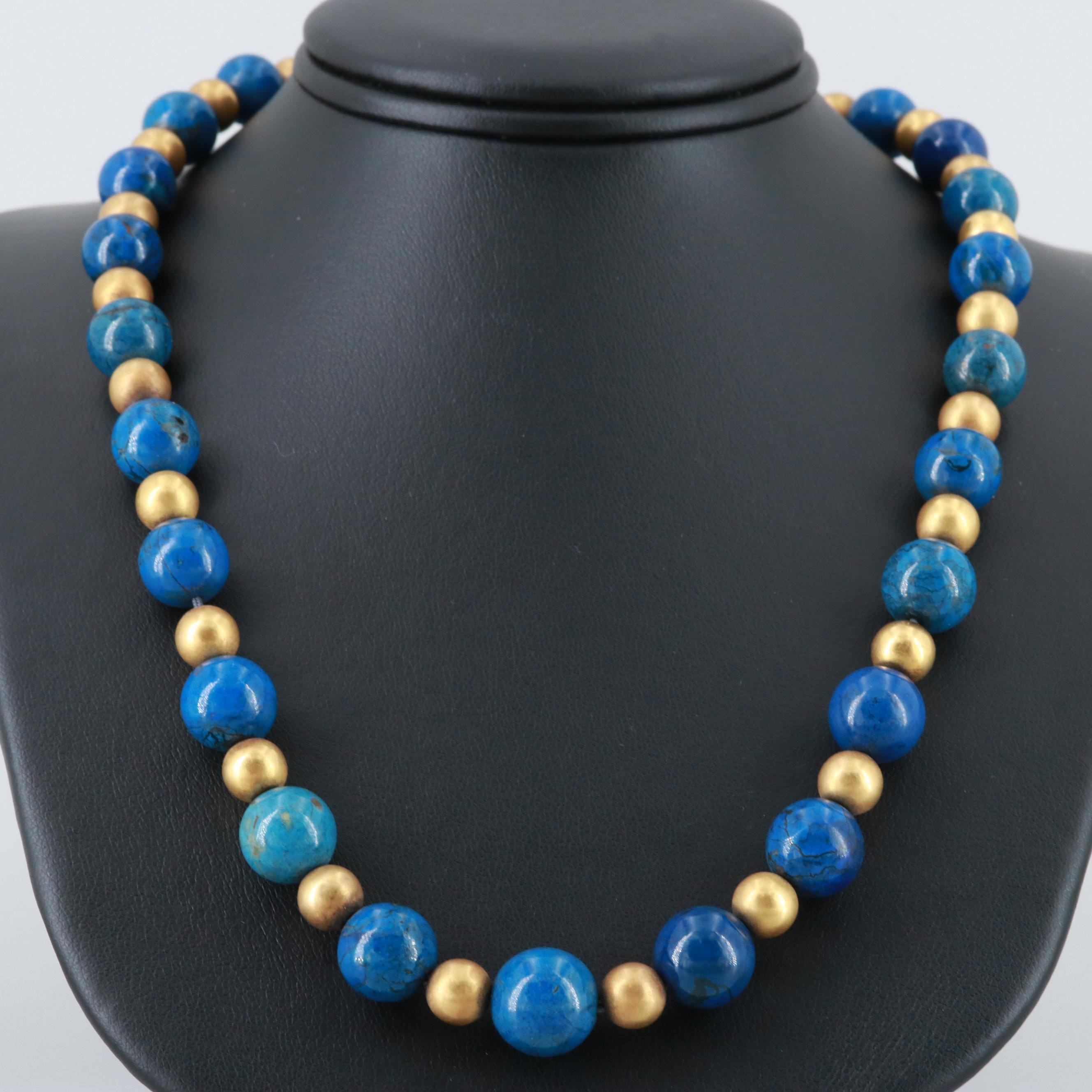 14K Yellow Gold Magnesite Beaded Necklace