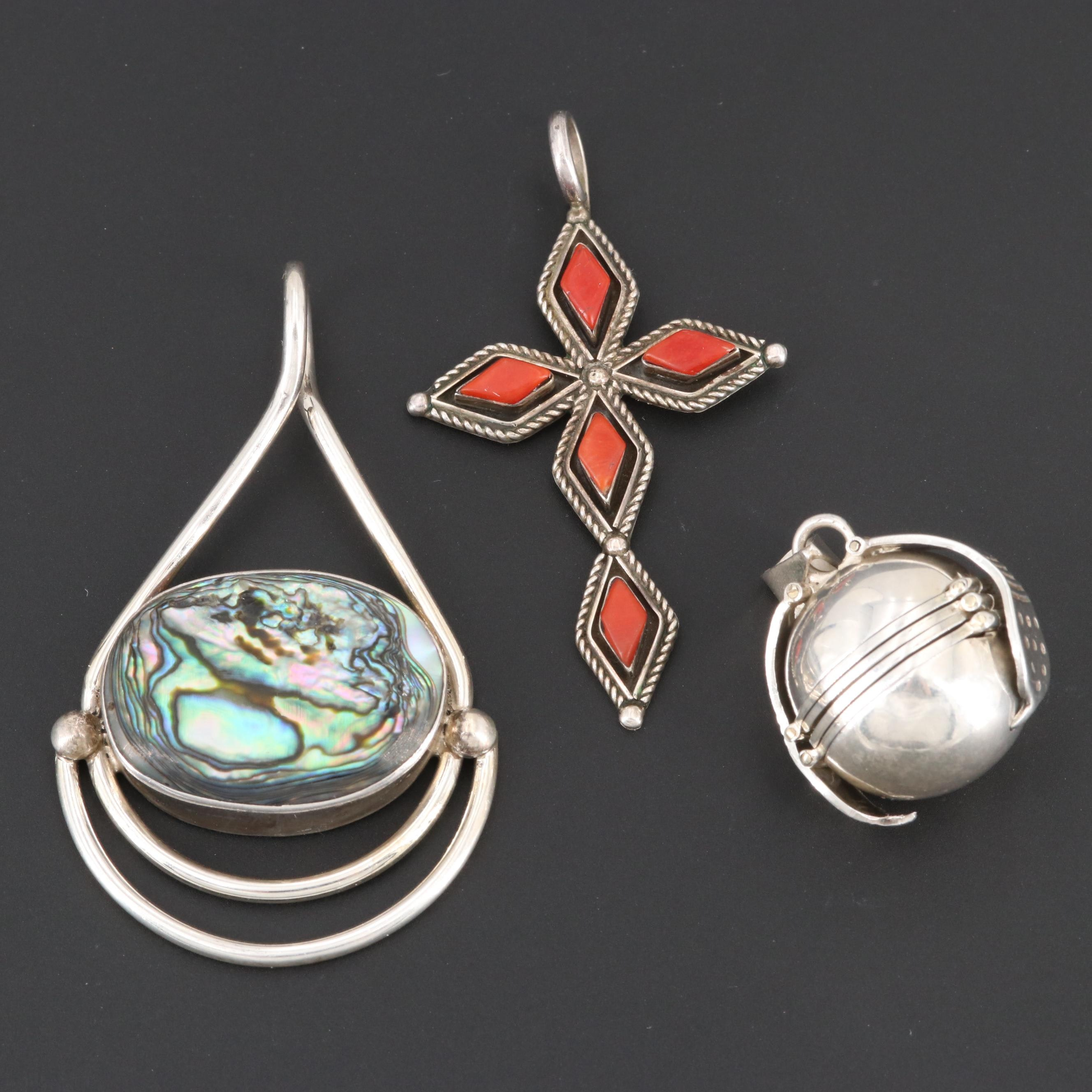 Southwestern Style Coral and Abalone Jewelry and Mexican Sterling Locket Pendant