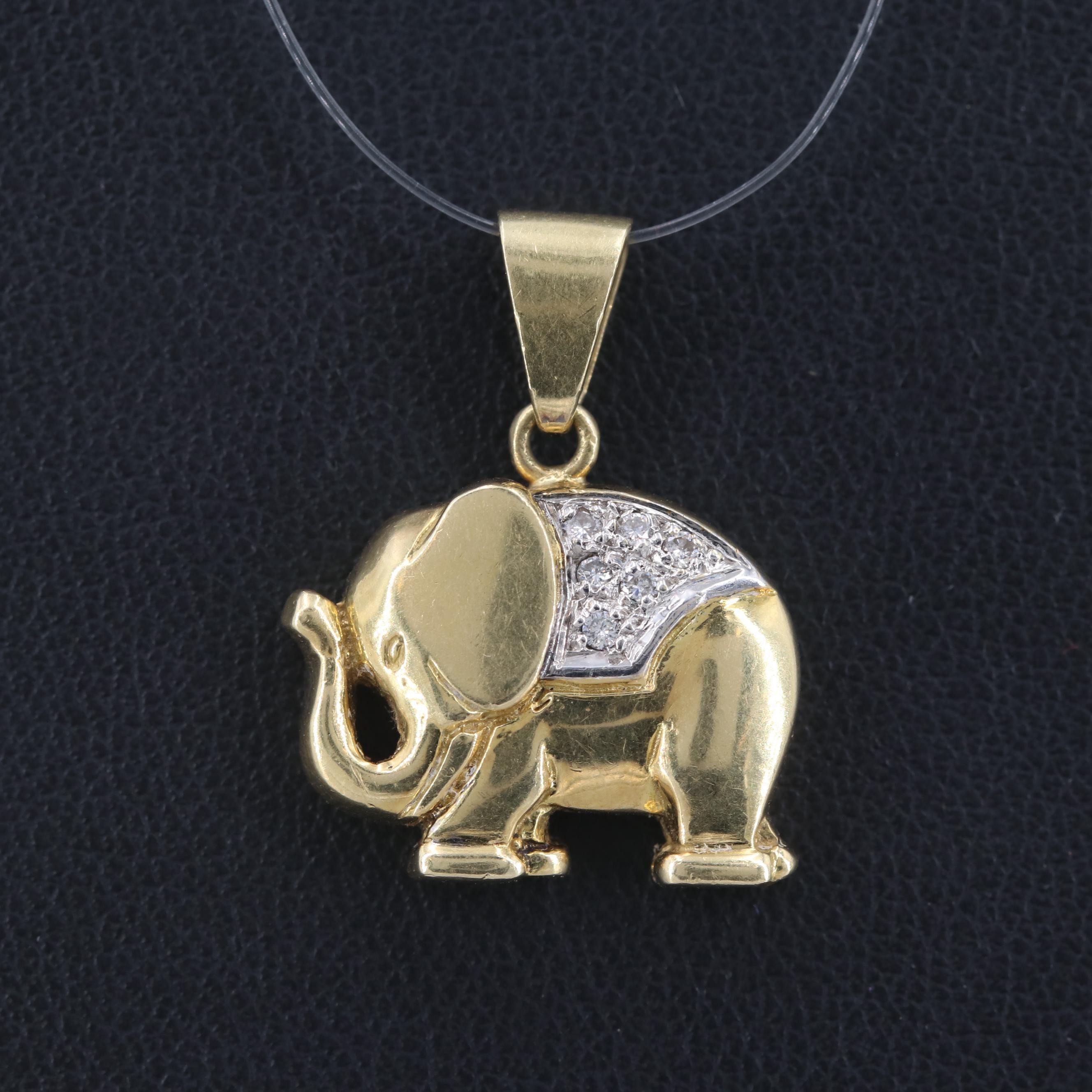18K Yellow Gold Diamond Elephant Pendant