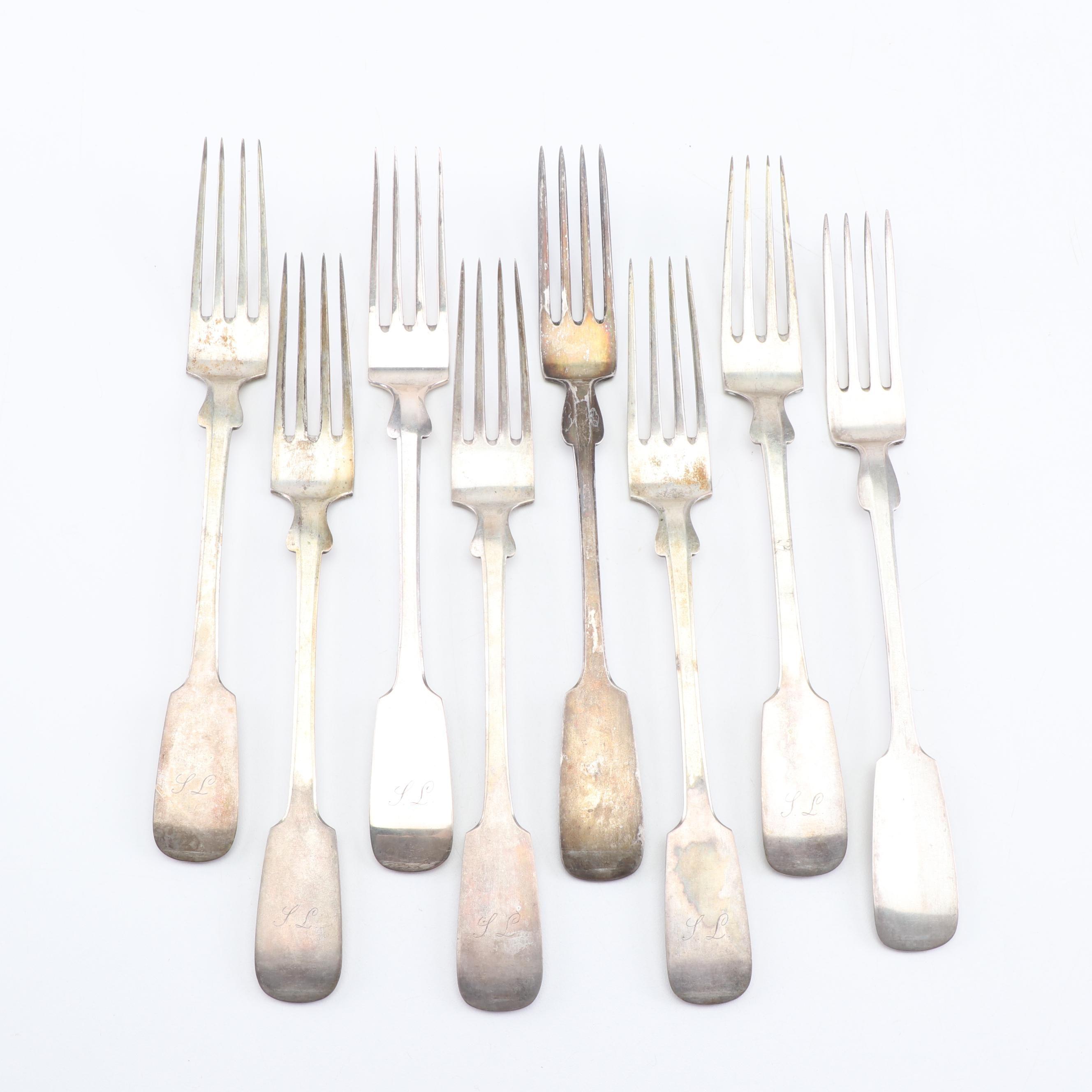 Fraenkel German 800 Silver Dinner Forks, Mid-19th Century