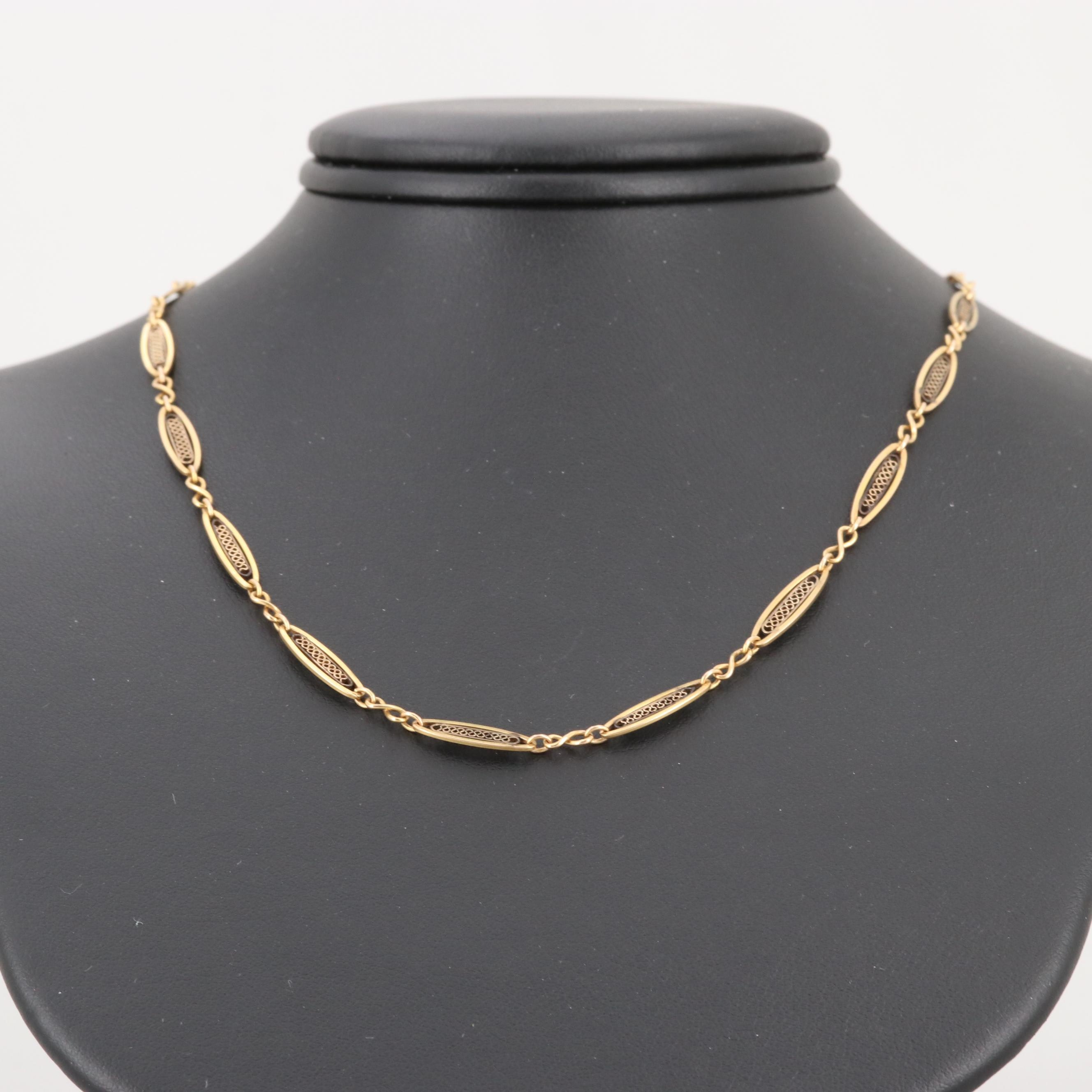 Vintage 14K Yellow Gold Chain Necklace with Filigree Accents