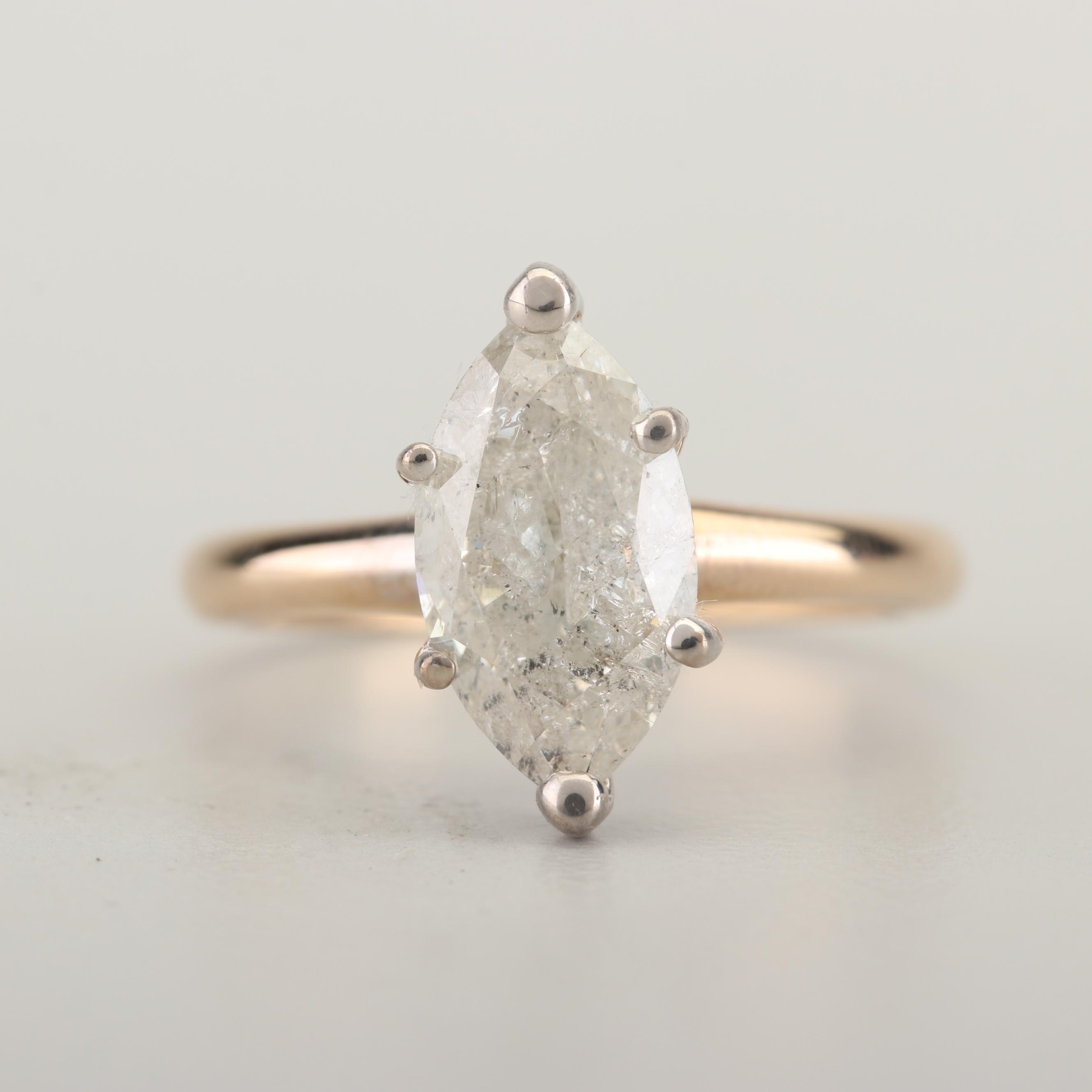 14K Yellow Gold and 1.72 CT Marquise Cut Diamond Solitaire Ring with GIA Report