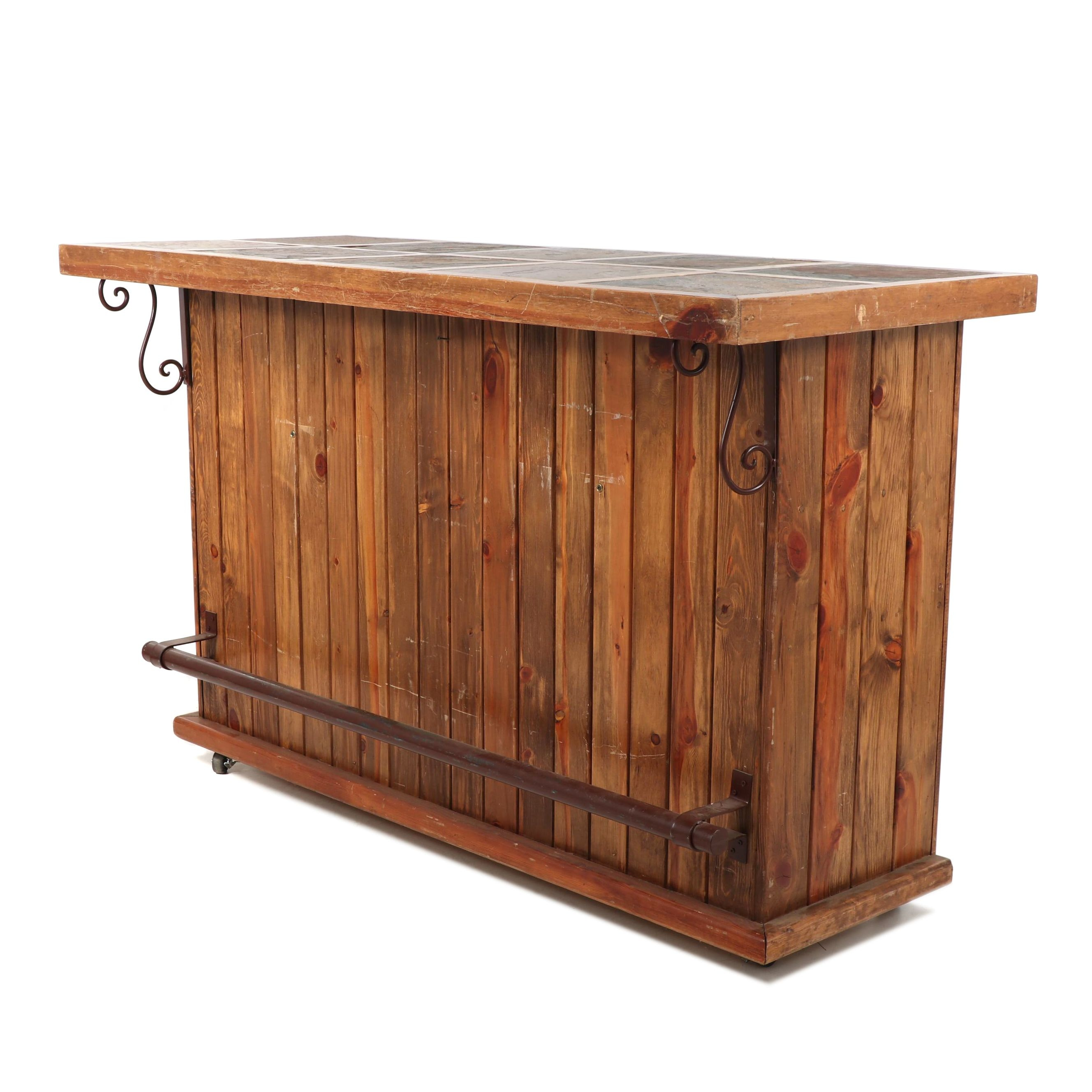 Rustic Pine Bar with Slate Tile Top, Contemporary