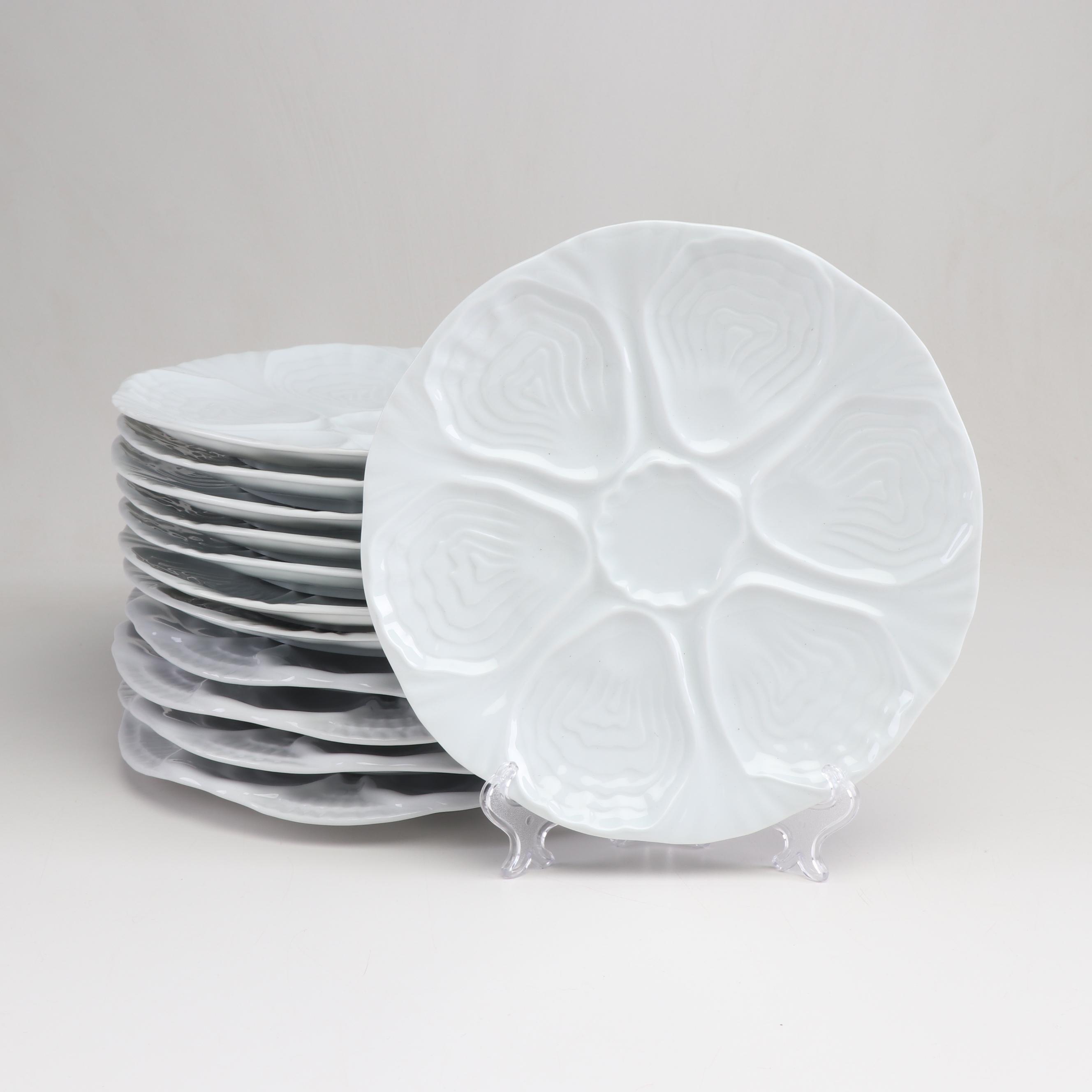 White Porcelain Oyster Plates Including Limoges