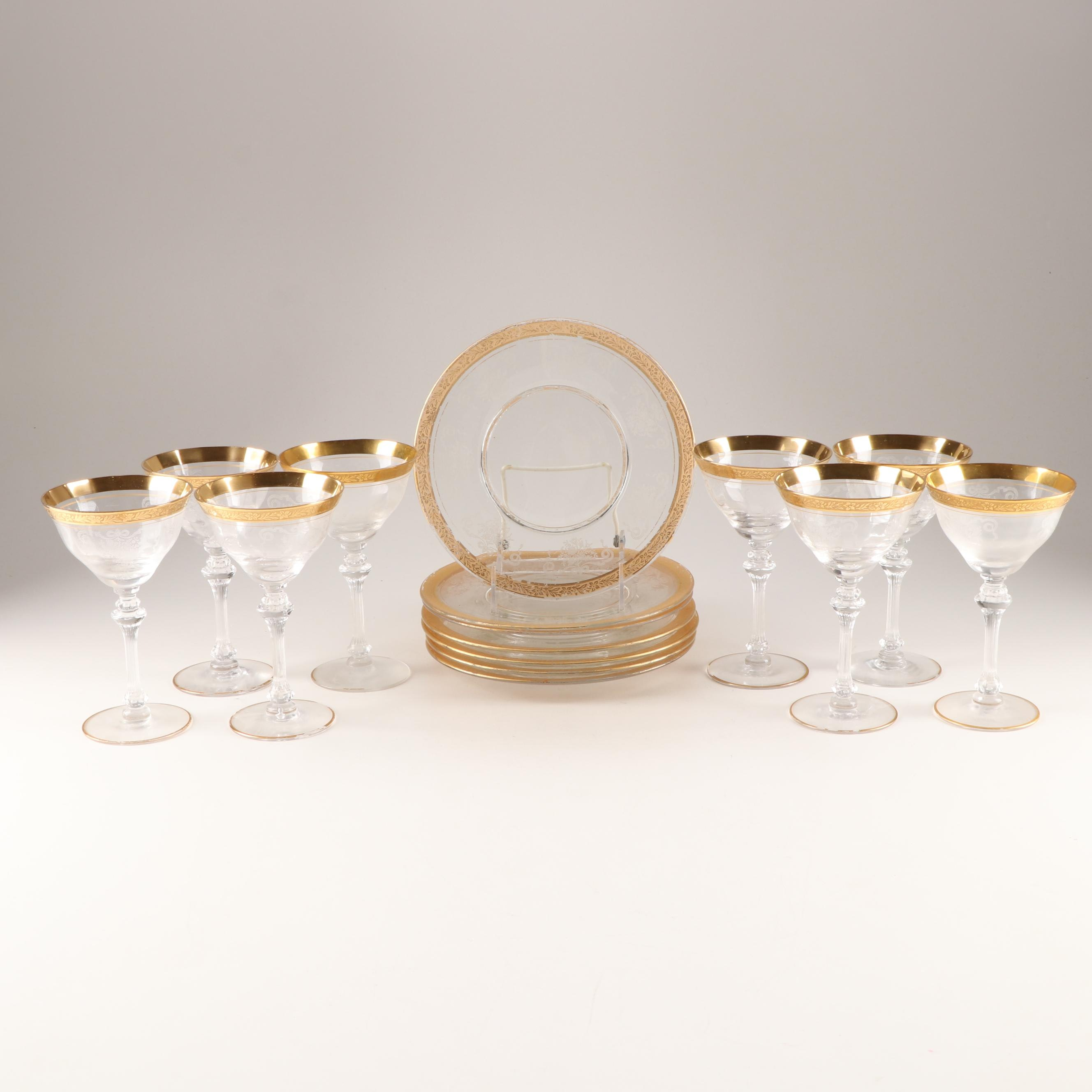 "Tiffin/Franciscan Crystal ""Melrose"" Tall Sherbets and Plates"