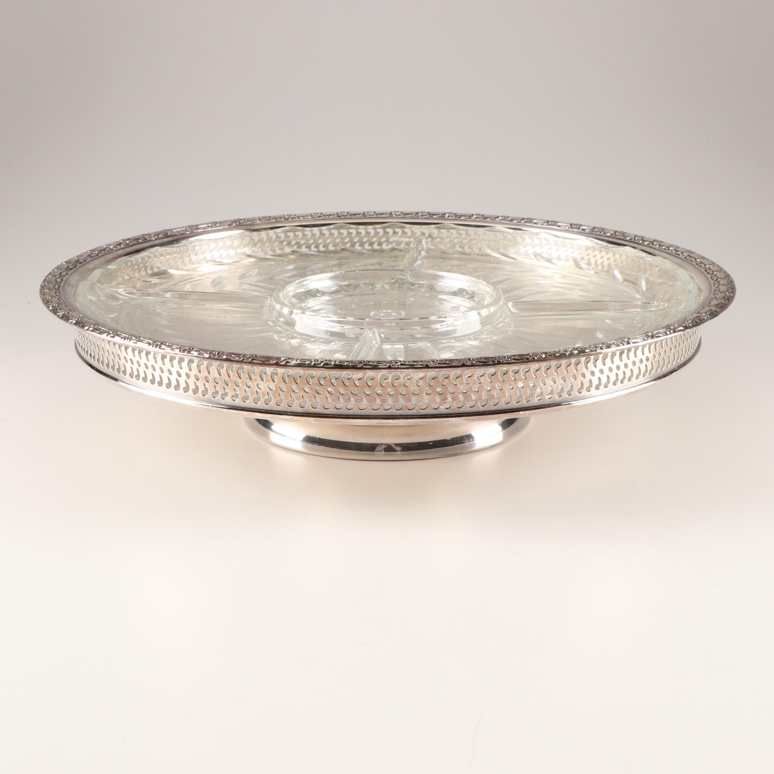 Plated Silver and Cut Glass Lazy Susan Server