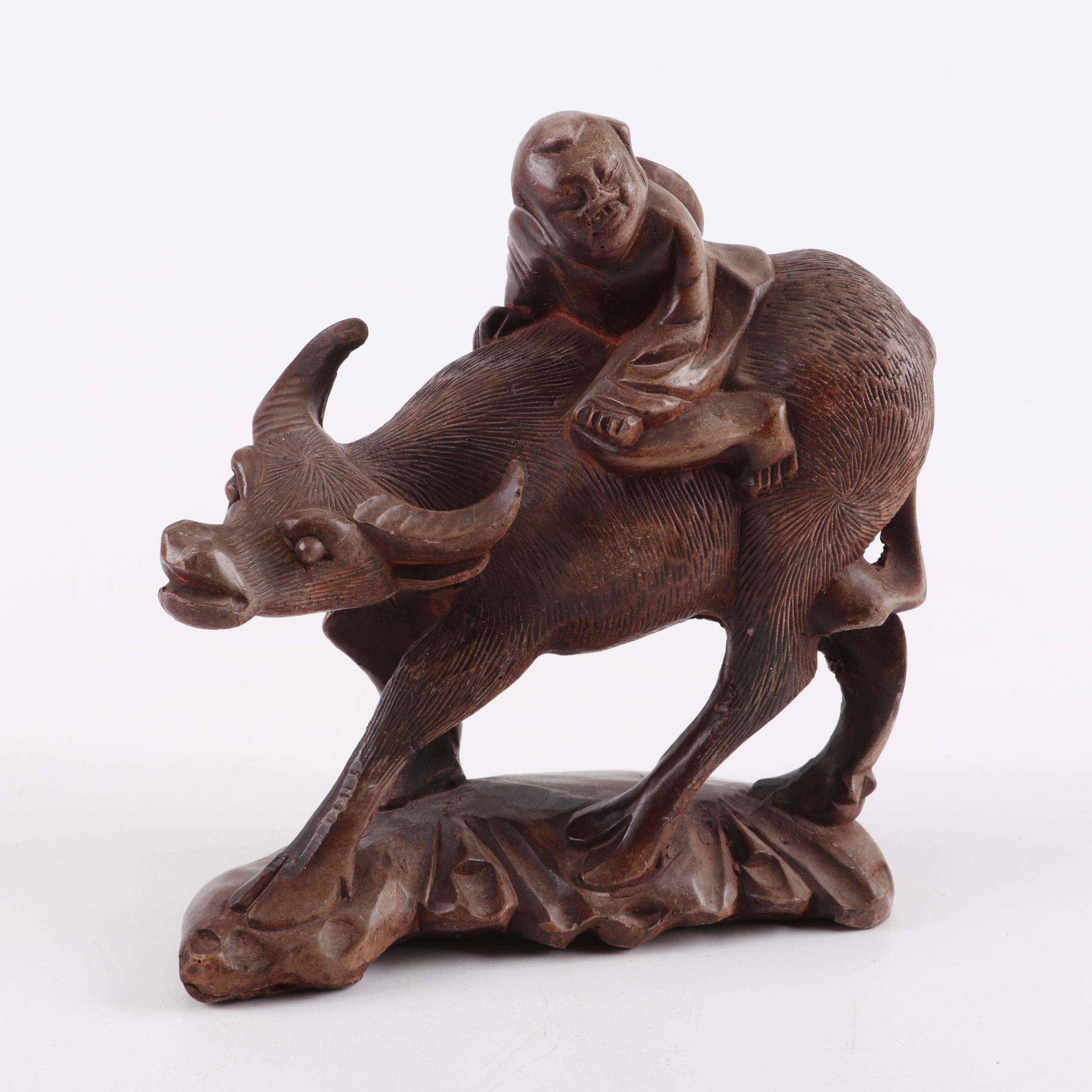 Chinese Composite Sculpture of Ox and Herdboy