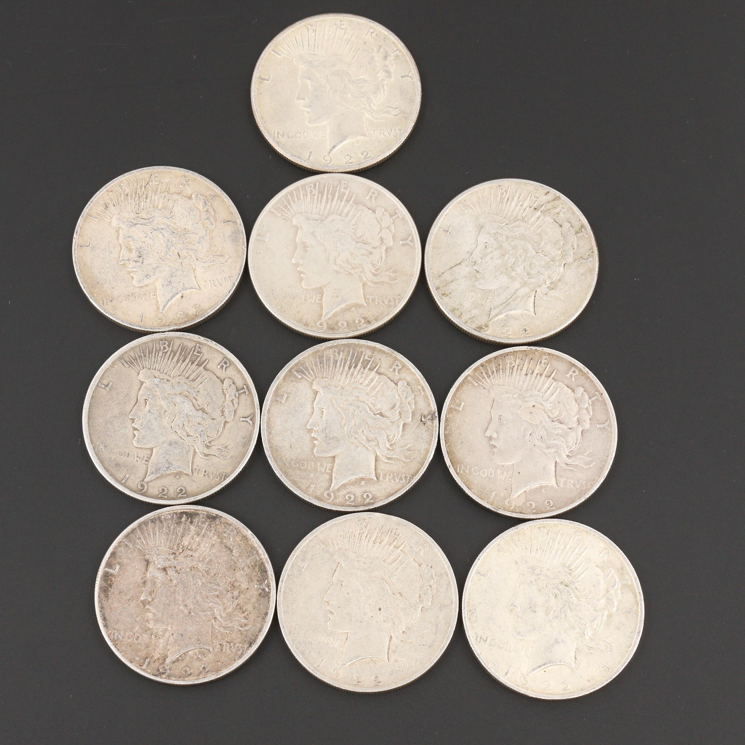 Group of Ten Silver Peace Dollars from 1922