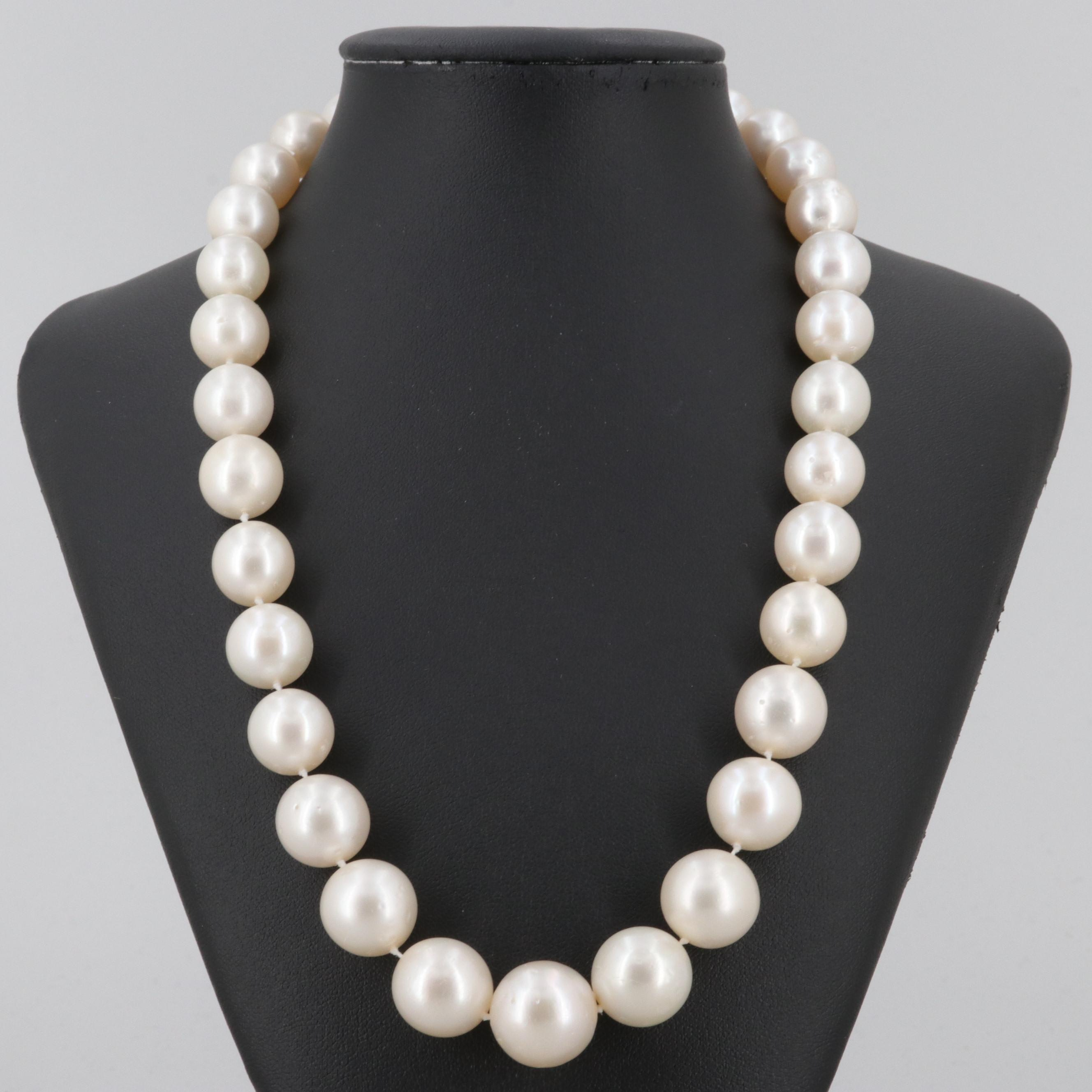 18K Yellow Gold Graduating (10.98-15.77mm) Cultured Pearl Necklace with Diamonds
