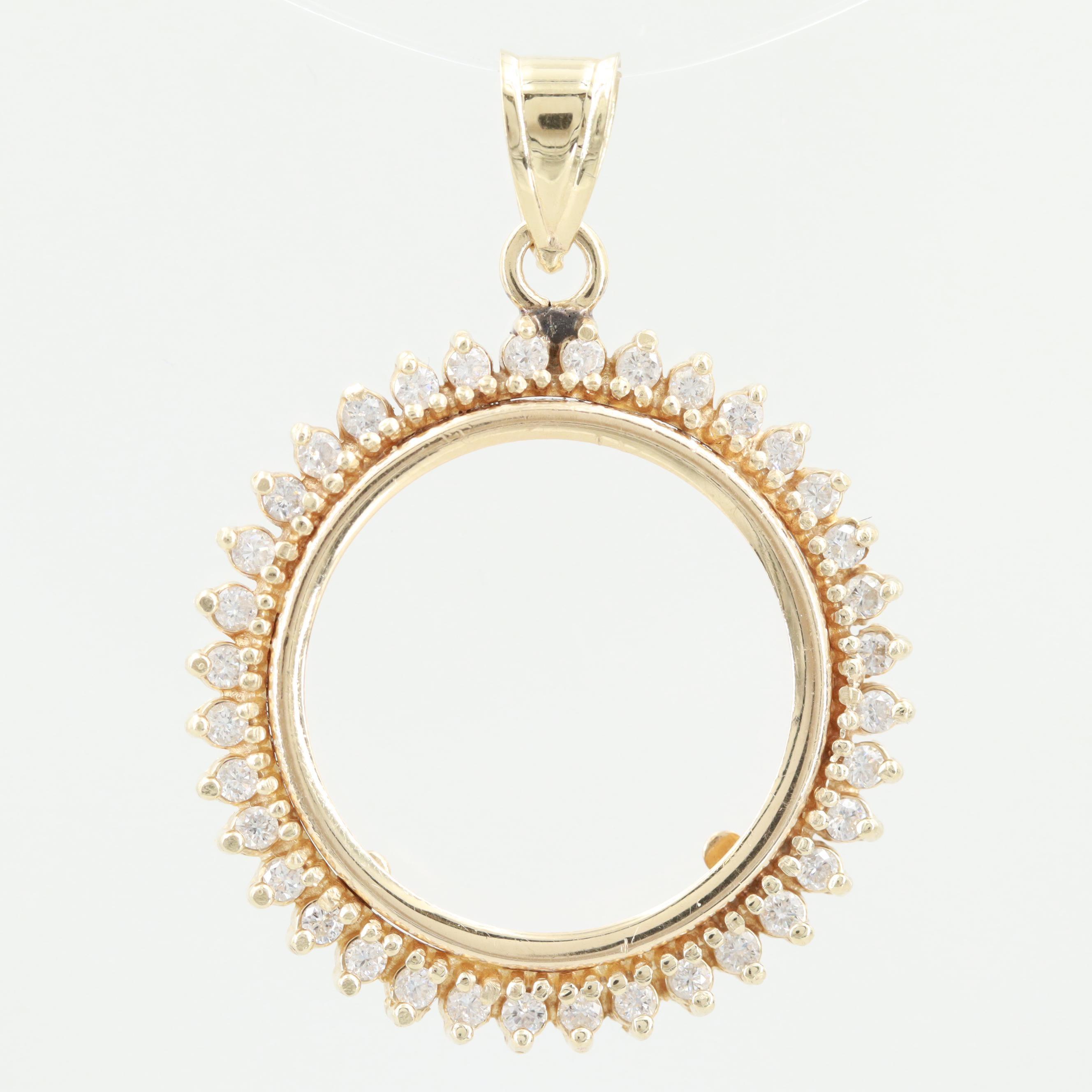 14K Yellow Gold Diamond Coin Bezel Pendant