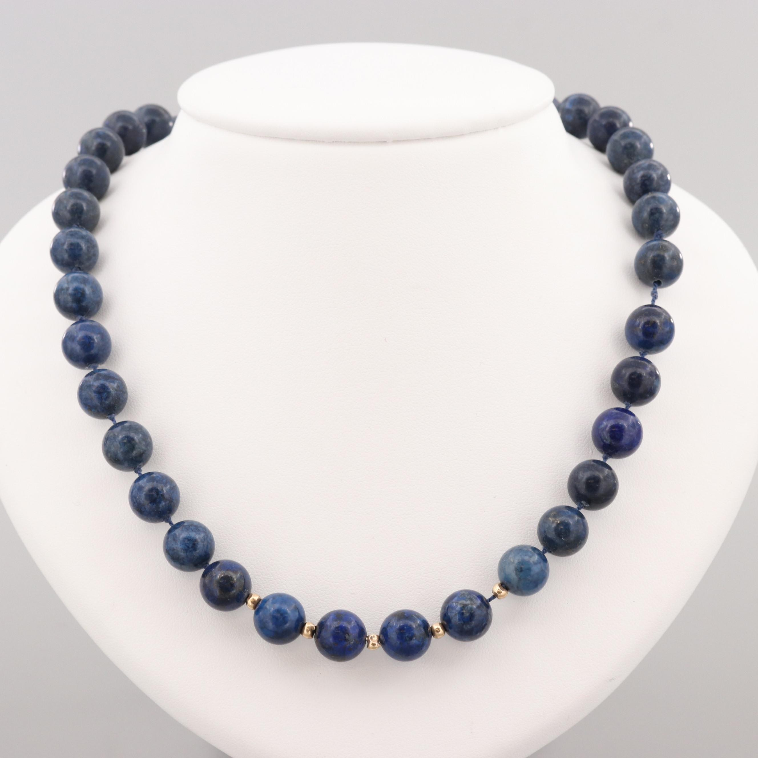 Lapis Lazuli Beaded Necklace with 14K Yellow Gold Clasp and Spacers