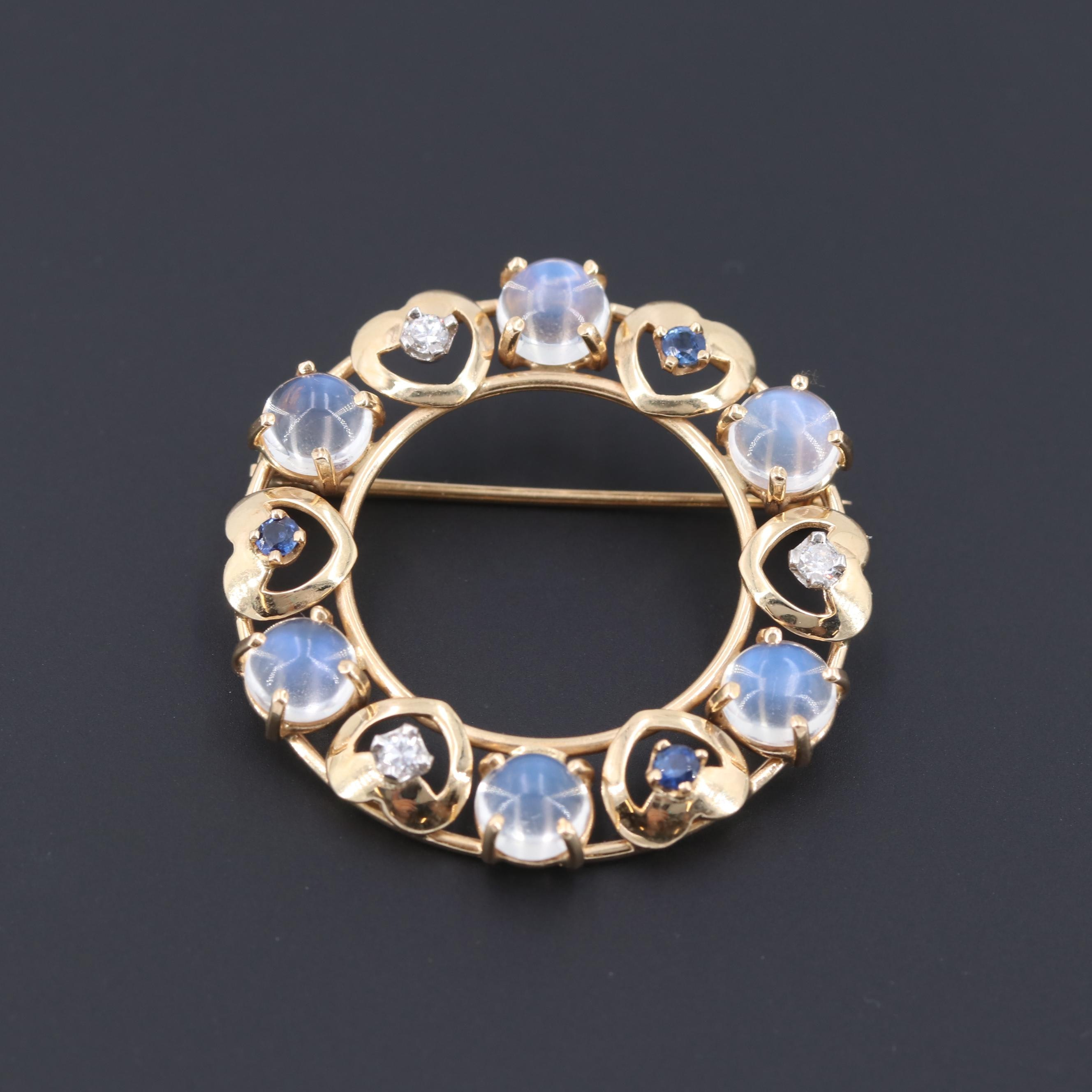 Vintage 14K Yellow Gold Moonstone, Diamond, and Sapphire Brooch