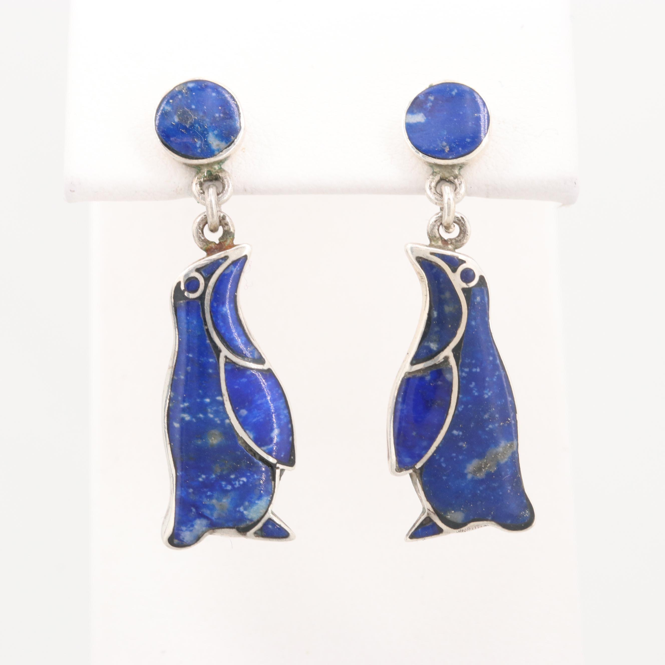 950 Silver Lapis Lazuli Penguin Dangle Earrings