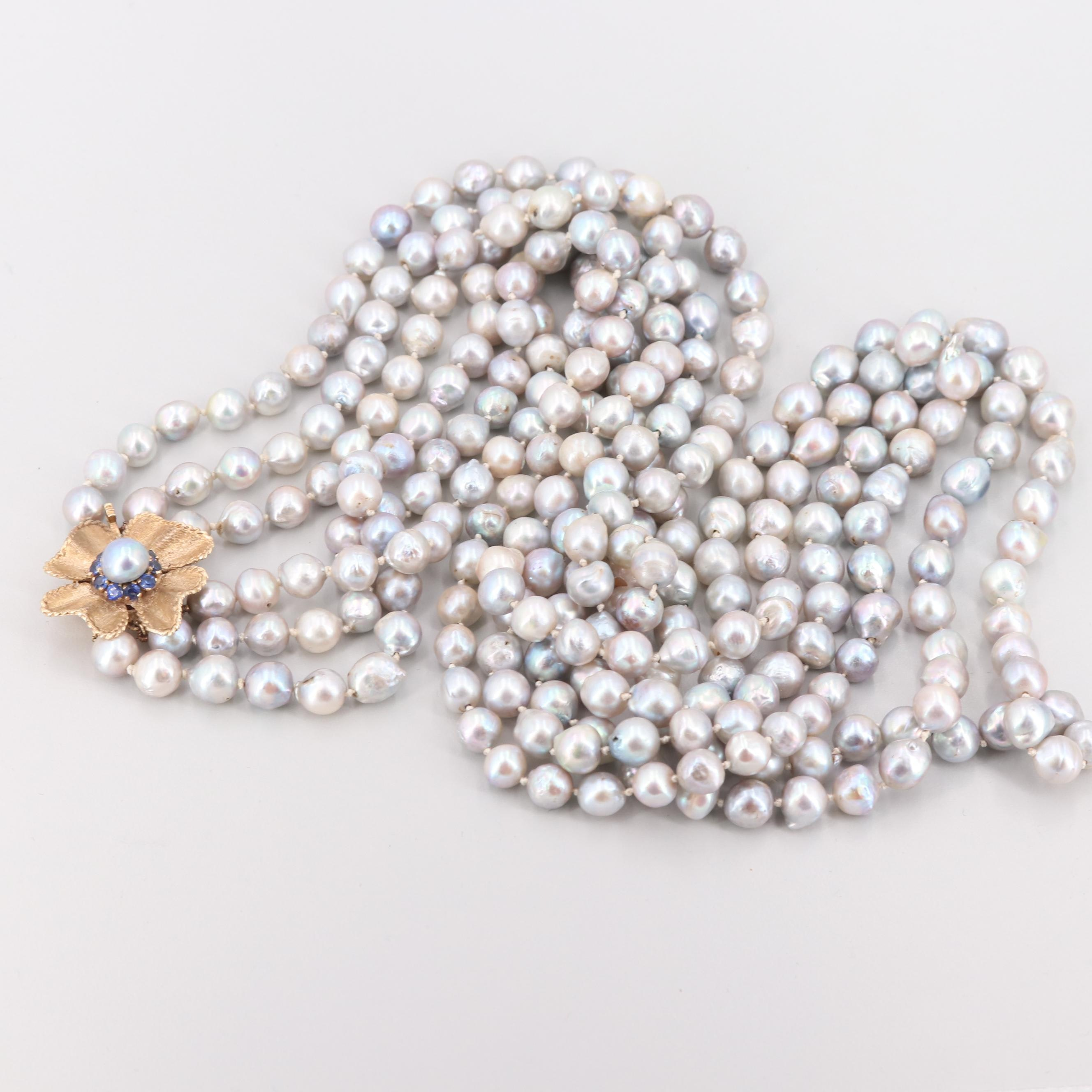 Cultured Pearl Necklace with 14K Yellow Gold Synthetic Sapphire Clasp
