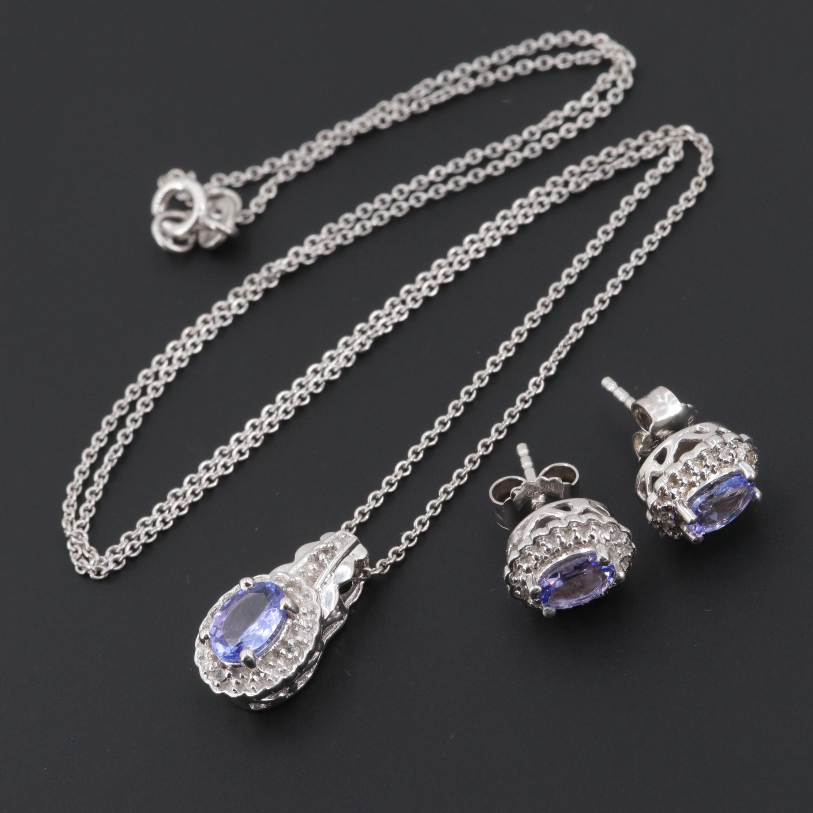 Sterling Silver Tanzanite and Topaz Necklace and Earrings