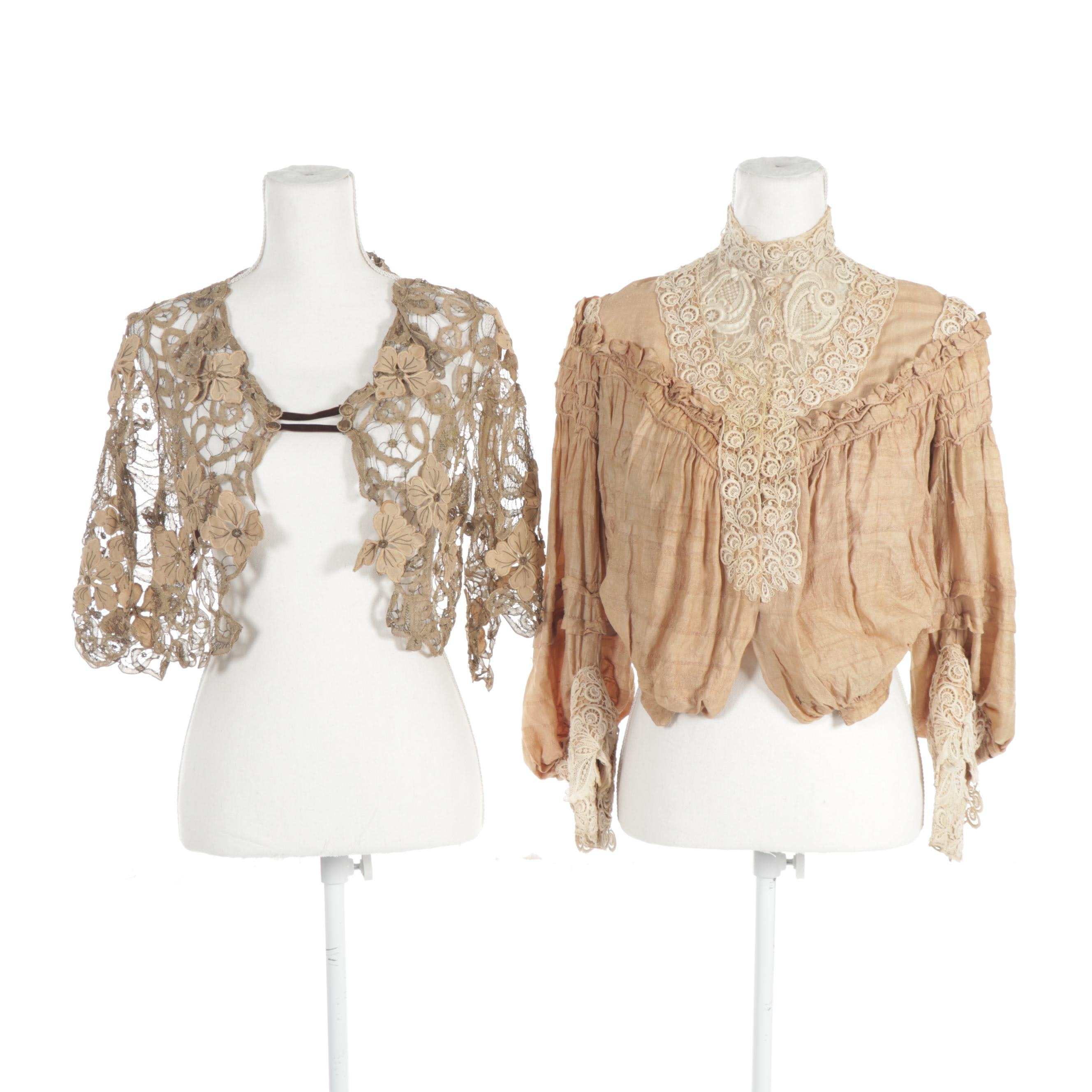 Women's Lace Blouse and Shawl, Early 20th Century