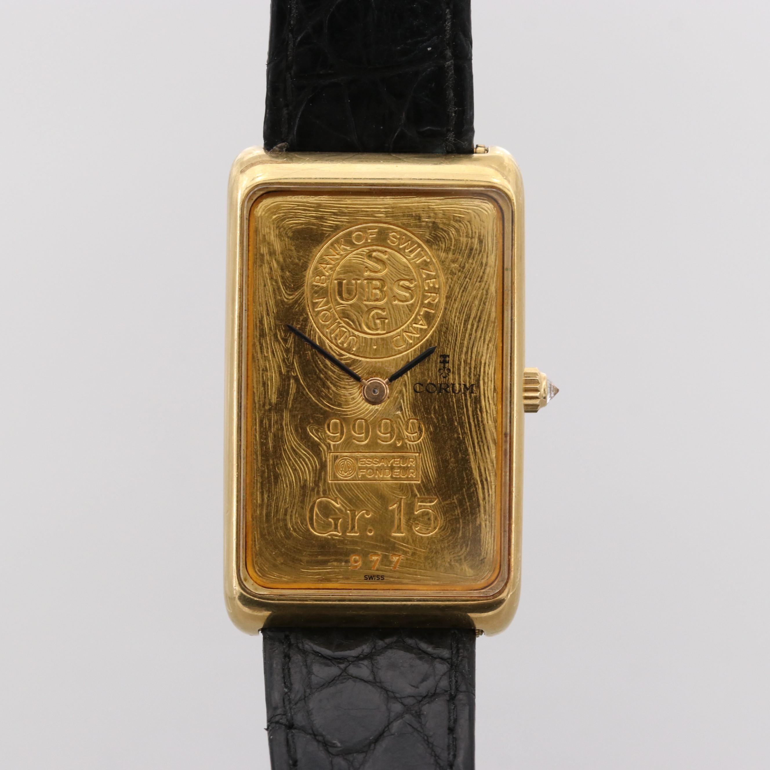 Corum 55400 15Gram Swiss Ingot 18K Yellow Gold Stem Wind Wristwatch With Diamond