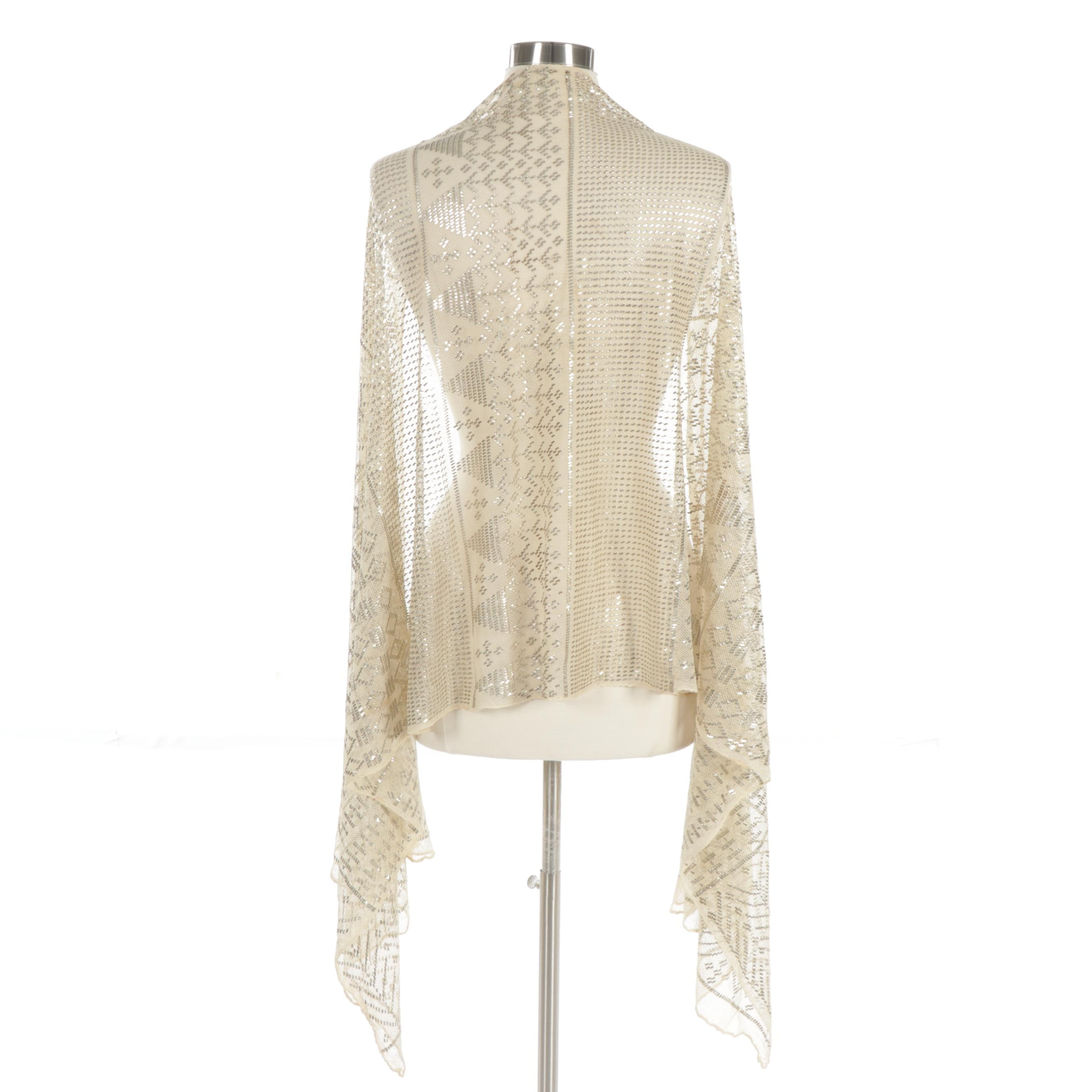 Egyptian Revival Embellished Assuit Shawl, 1920s Vintage