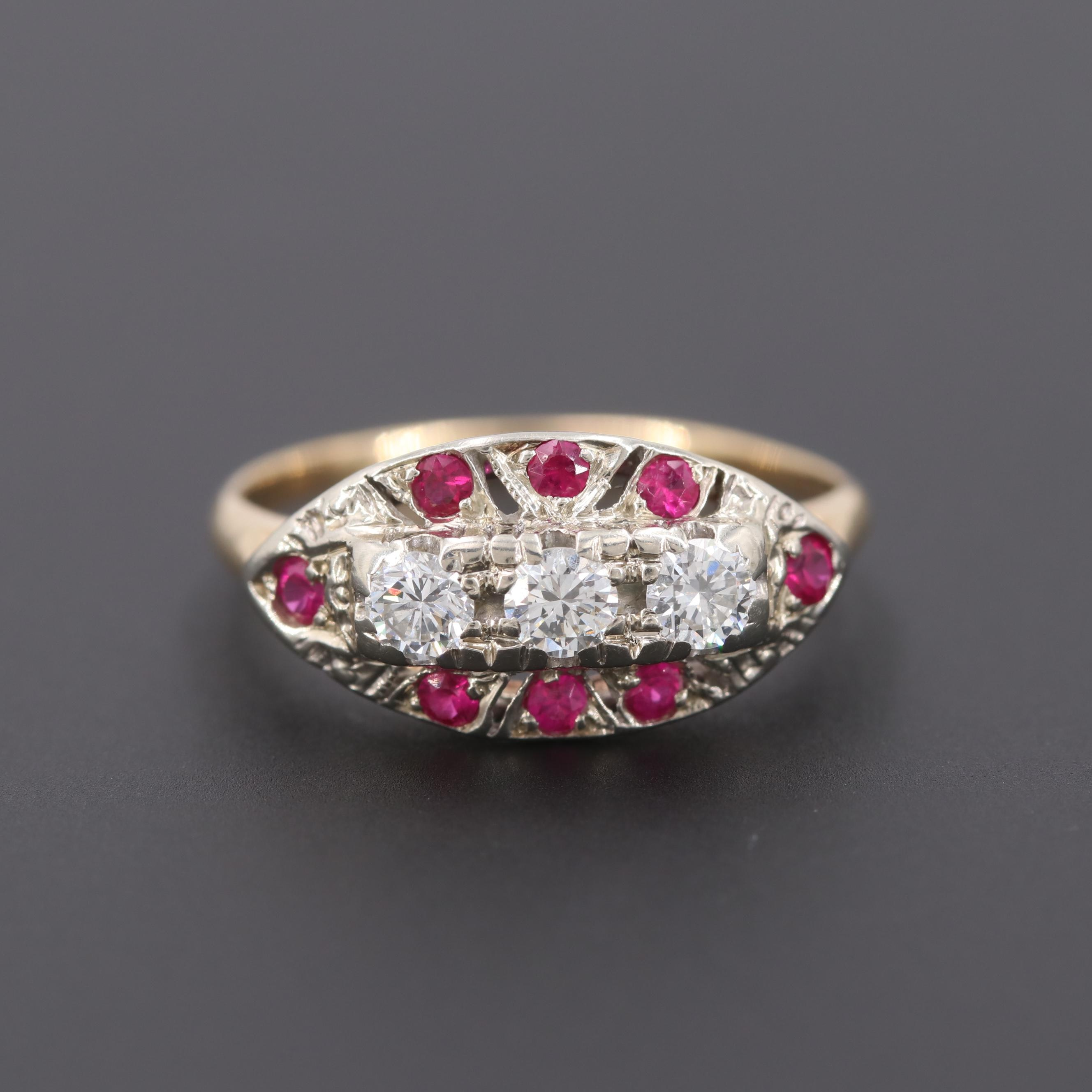14K Yellow and White Gold Diamond and Synthetic Ruby Ring