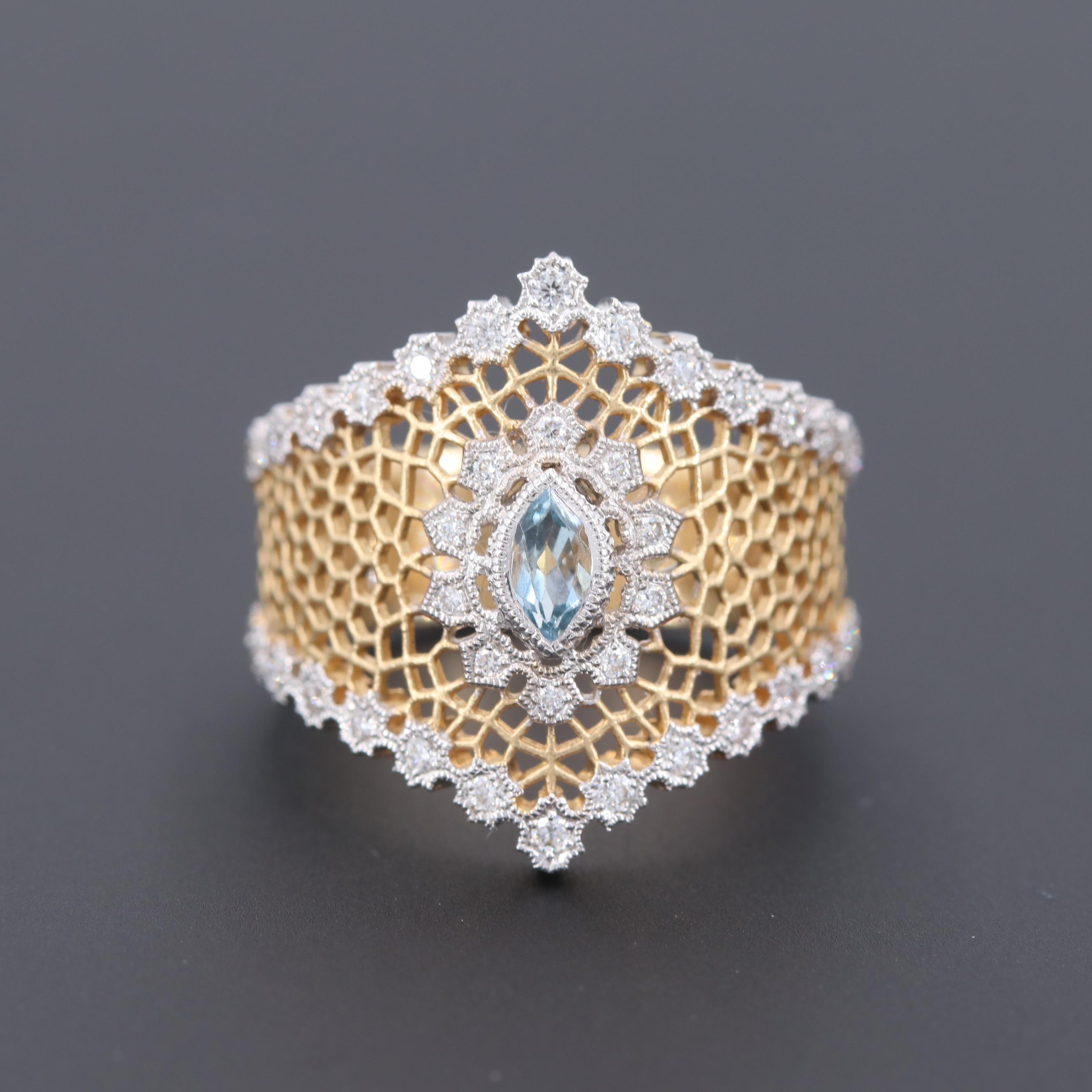 Beverly K. 18K Yellow Gold Aquamarine and Diamond Ring