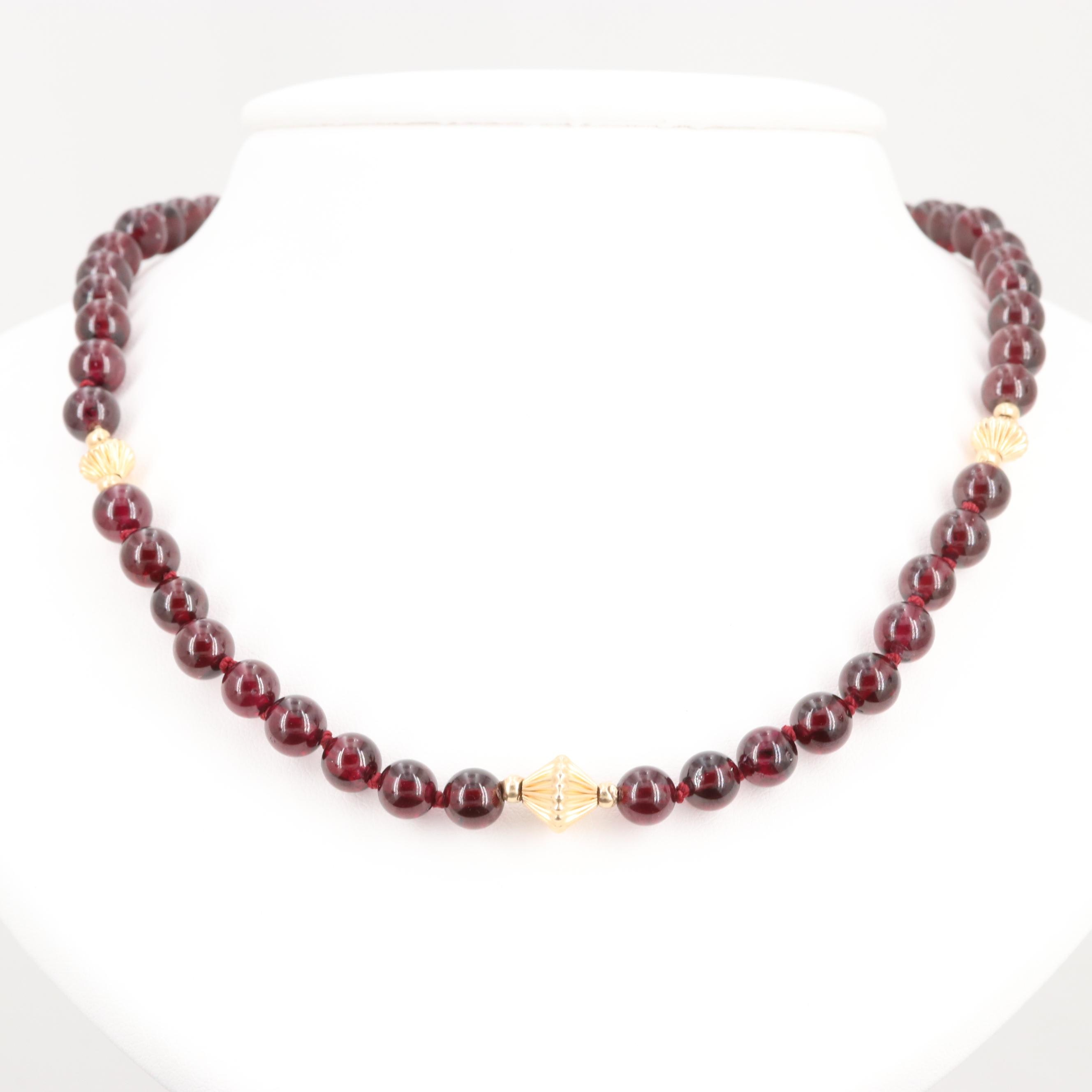 14K Yellow Gold and Gold Tone Garnet Beaded Necklace