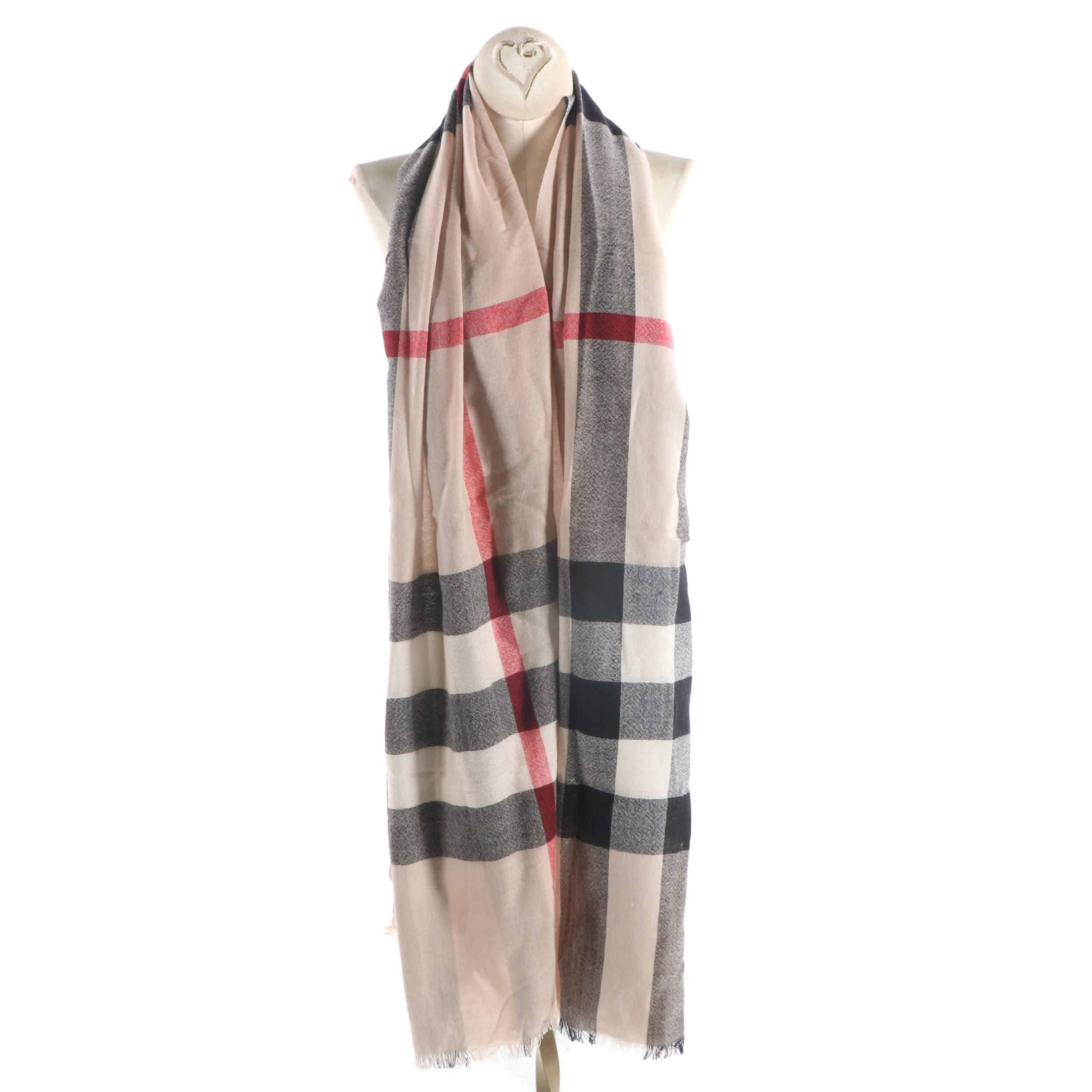 Burberry Check Cashmere and Wool Blend Scarf
