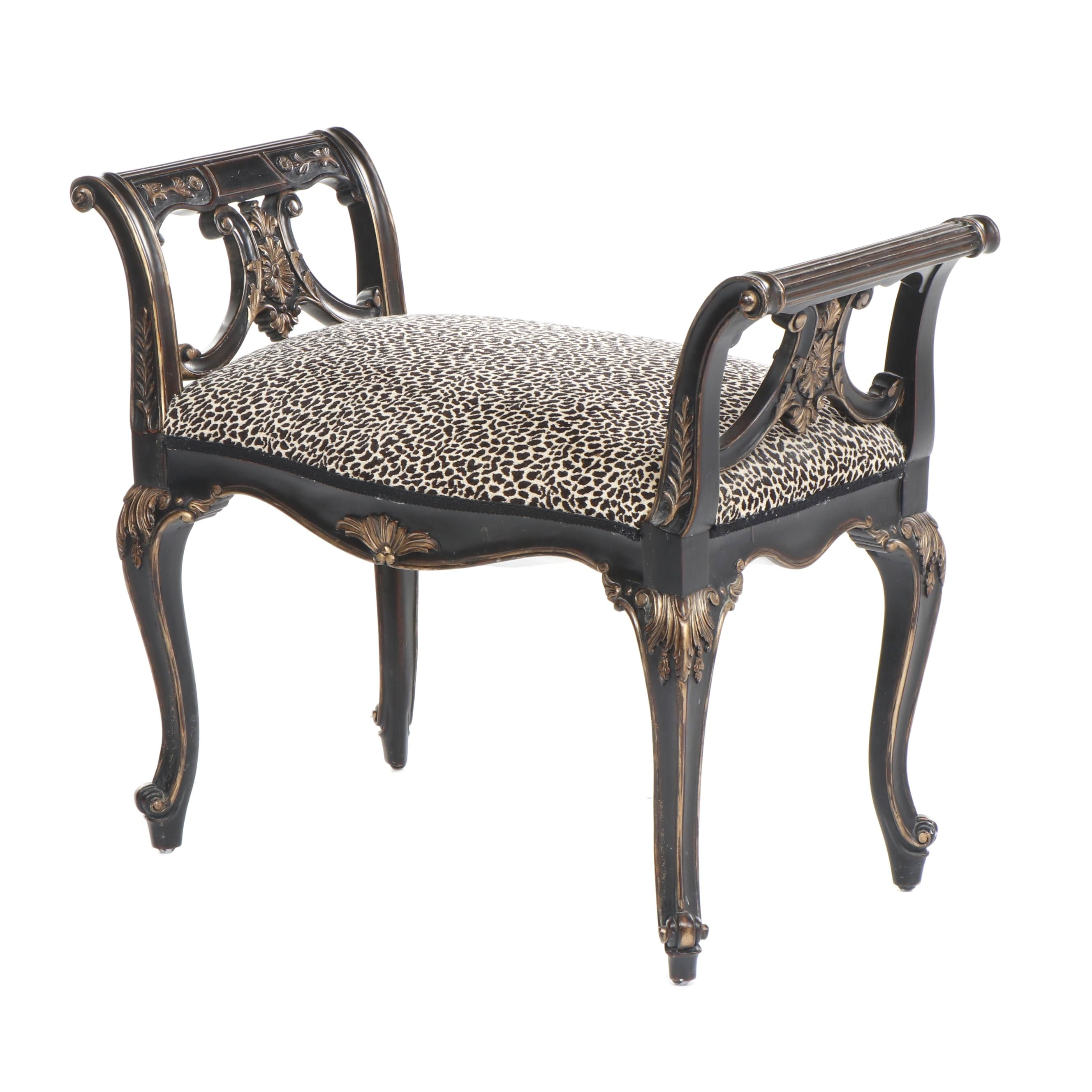 Contemporary French Provincial Style Bench with Leopard Print Upholstery