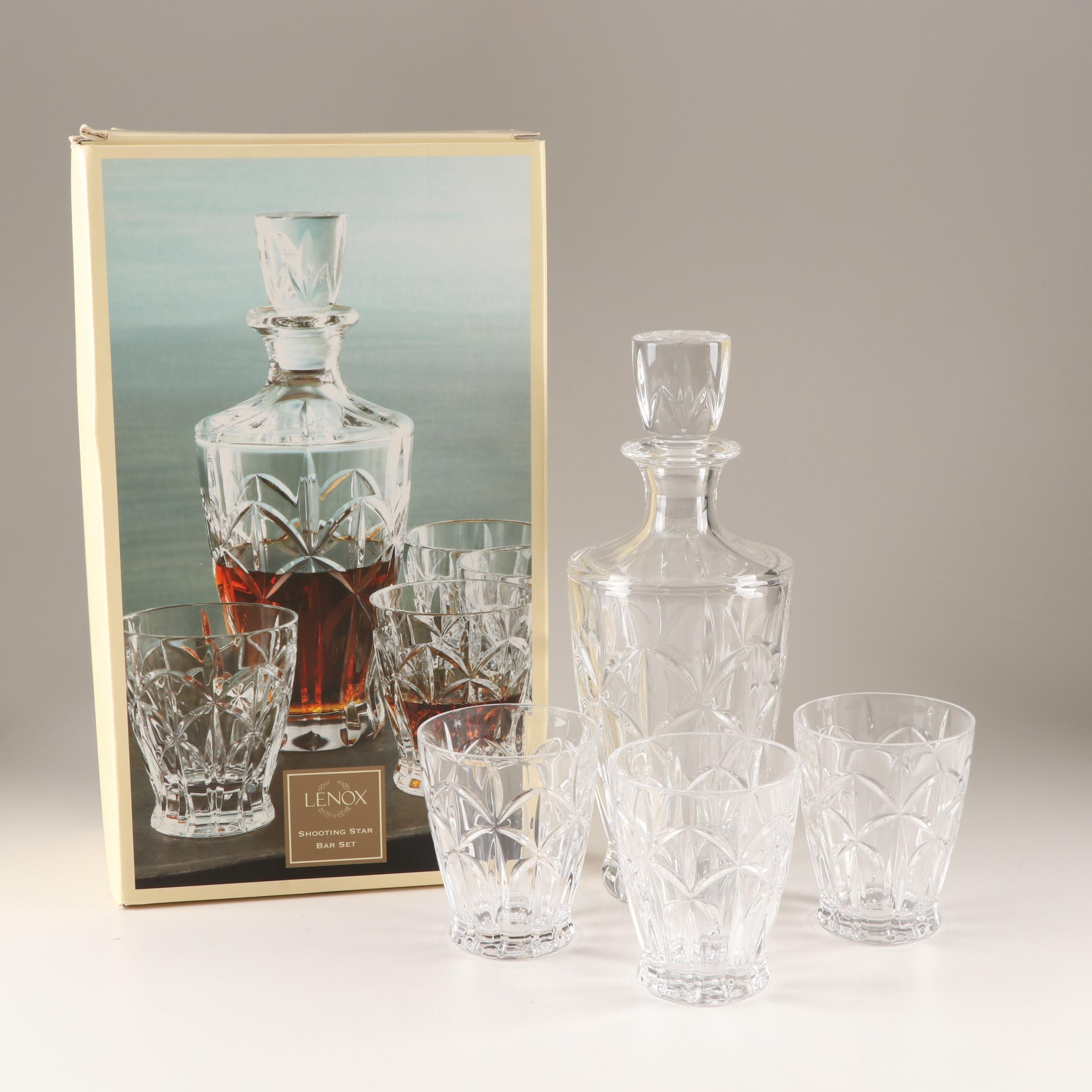 "Lenox ""Shooting Star"" Lead Crystal Barware Set"
