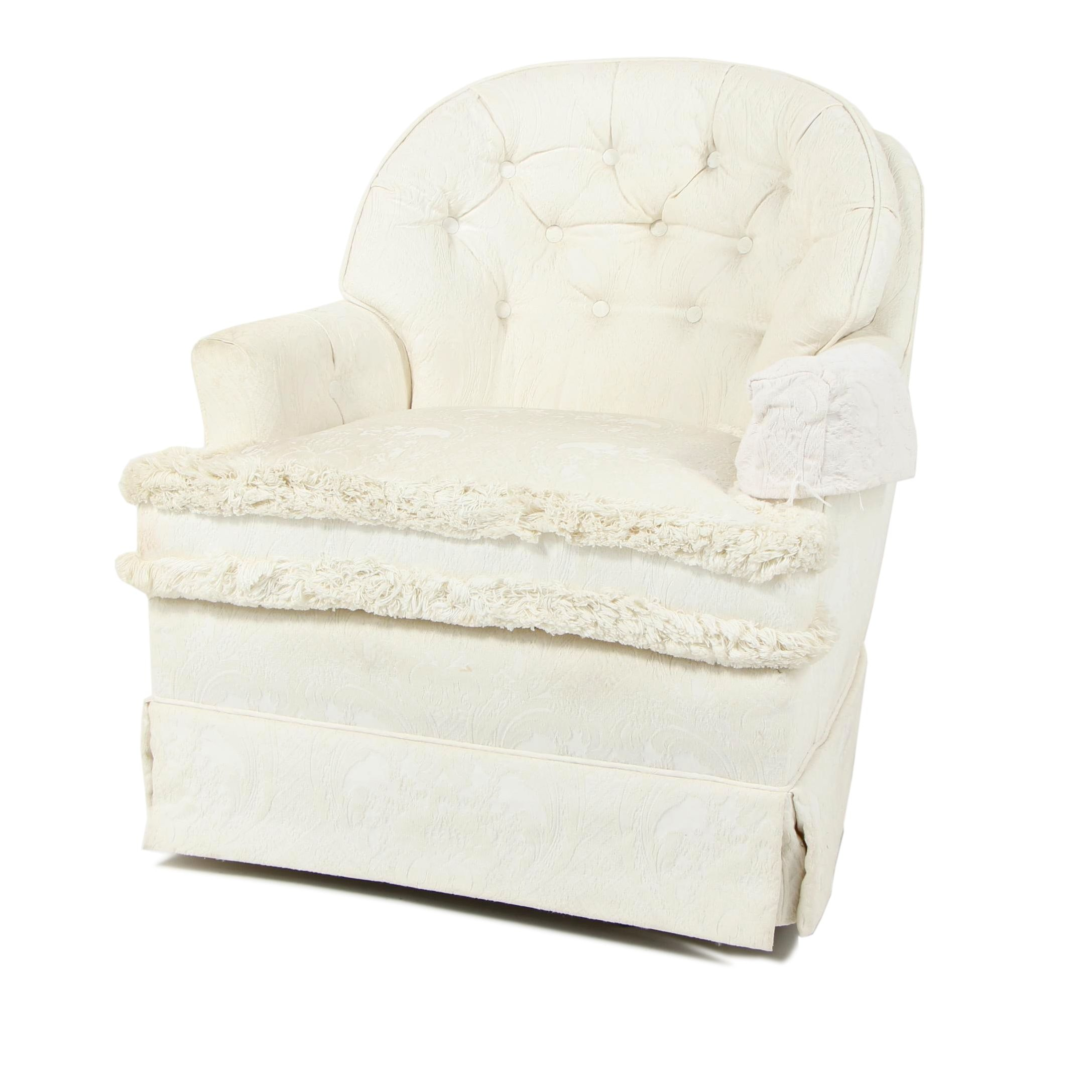 Contemporary Cream Upholstered Armchair