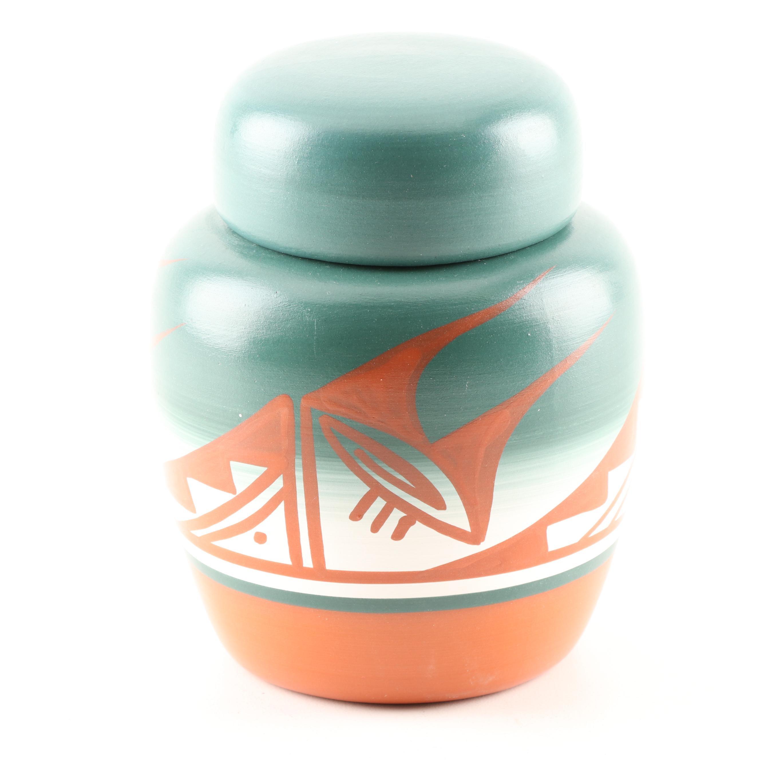 Keda Pinh Hozoni Pottery Terracotta Lidded Jar