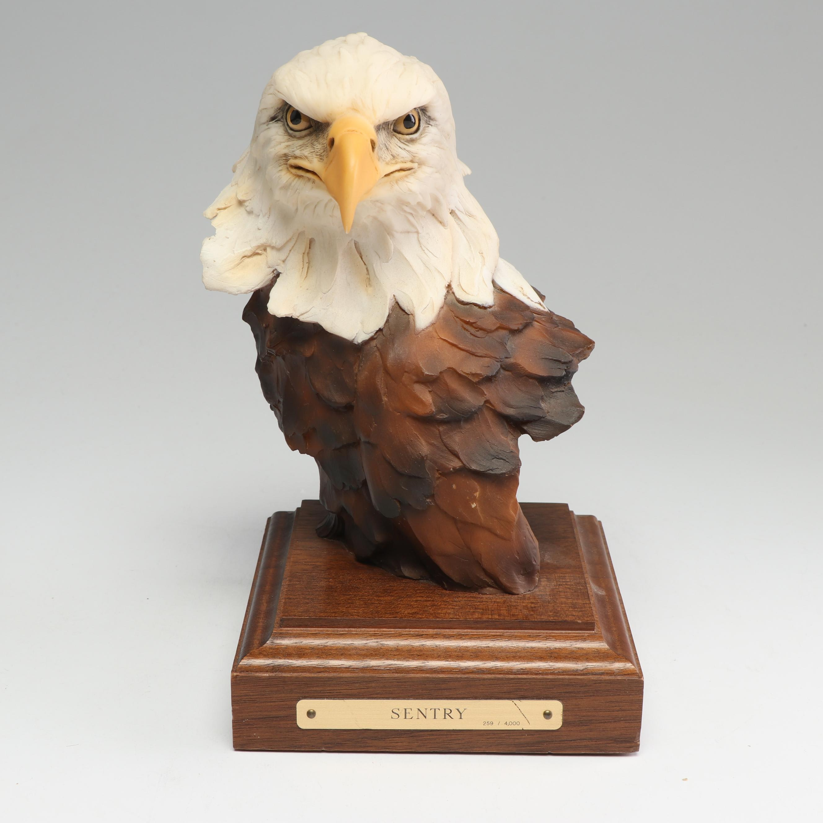 "Stephan Herrero Bald Eagle Sculpture ""Sentry"""